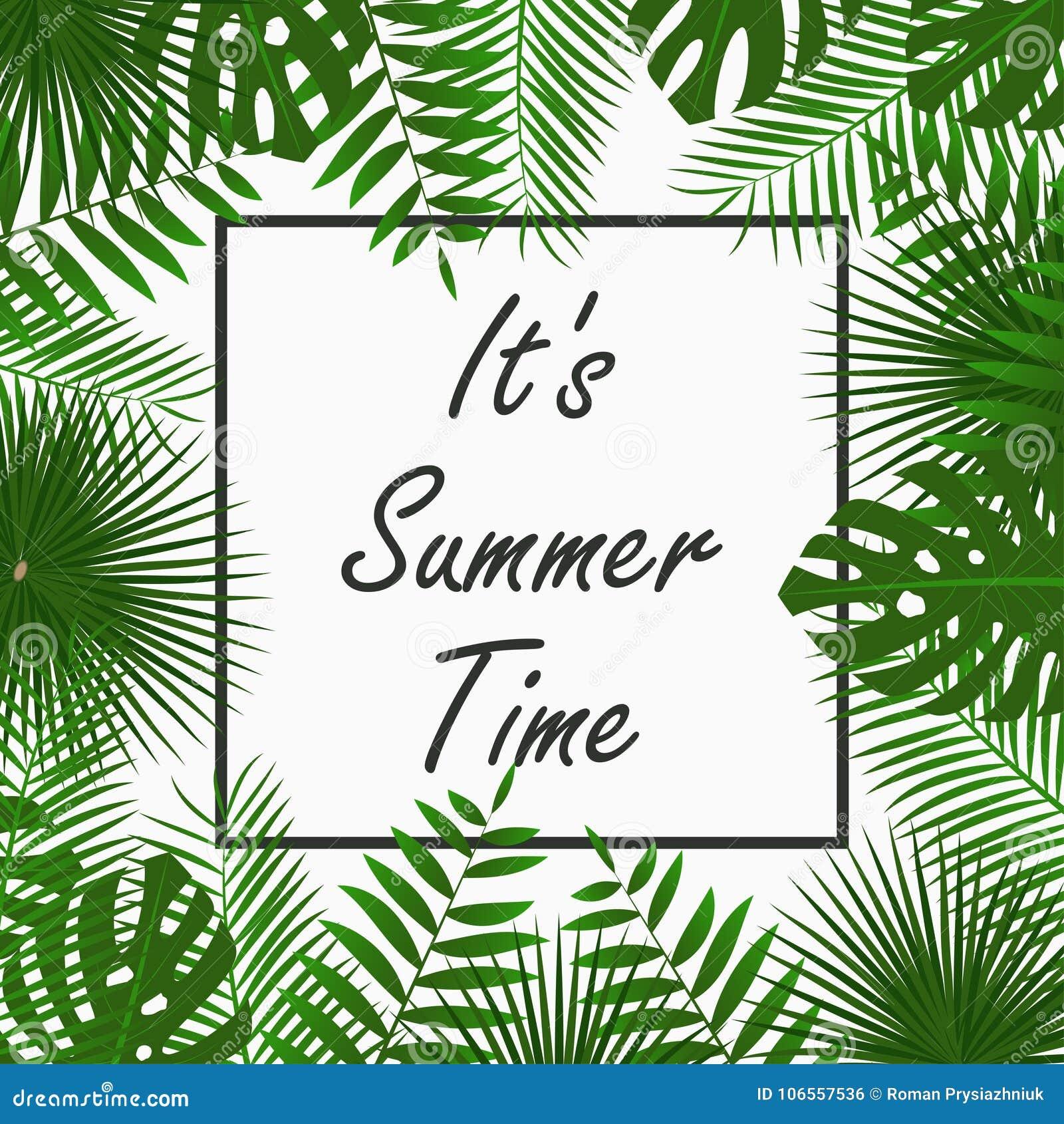 Σχέδιο καρτών θερινού χρόνου με - τροπικά φύλλα φοινικών, φύλλο ζουγκλών, εξωτικά φυτά και πλαίσιο συνόρων Γραφικός για την αφίσα