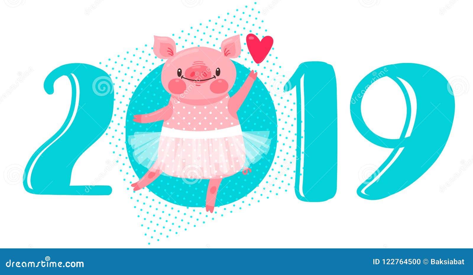 e66fb8f748e 2019 σχέδιο καρτών καλής χρονιάς Διανυσματική απεικόνιση με 2019 αριθμούς  και γλυκός χοίρος χορού στο tutu μπαλέτου Αριθμοί και σύμβολο του κινεζικού  ...