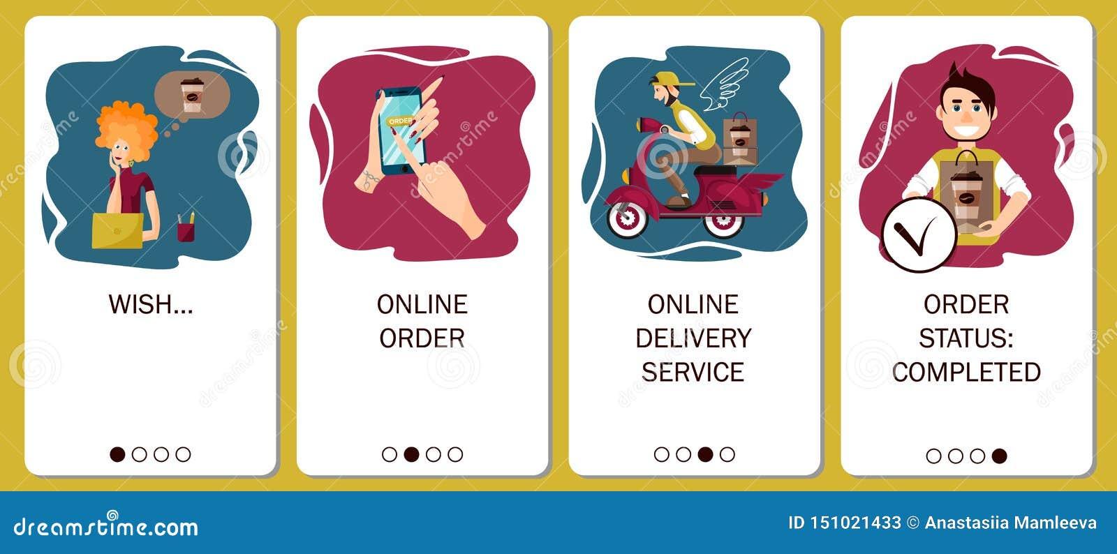 Σχέδιο κινητό app οι οθόνες Σε απευθείας σύνδεση υπηρεσία διαταγής, παράδοση καφέ, καφές διαταγής στη σε απευθείας σύνδεση καφετε