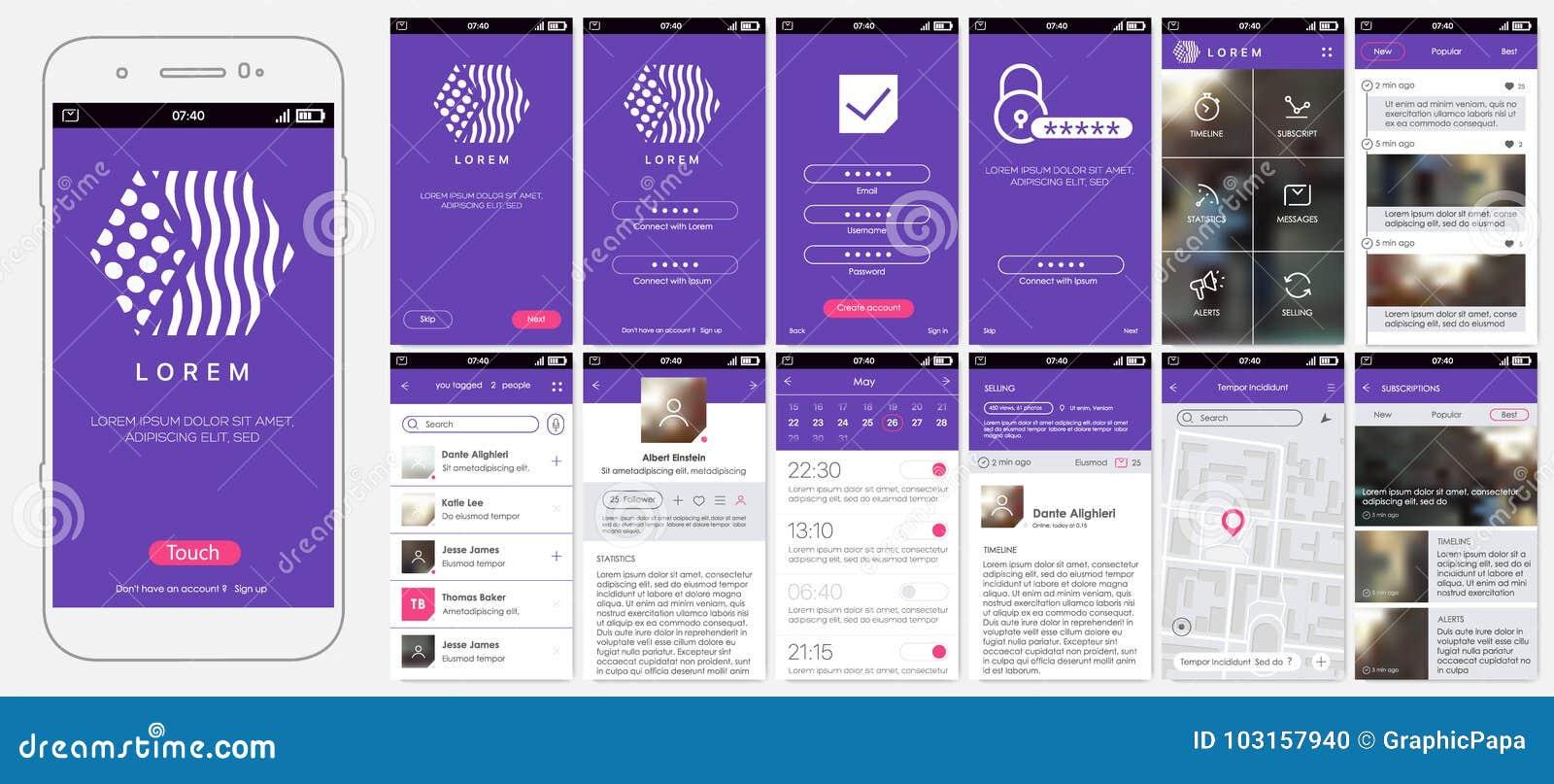 Σχέδιο κινητό app, UI, UX, GUI