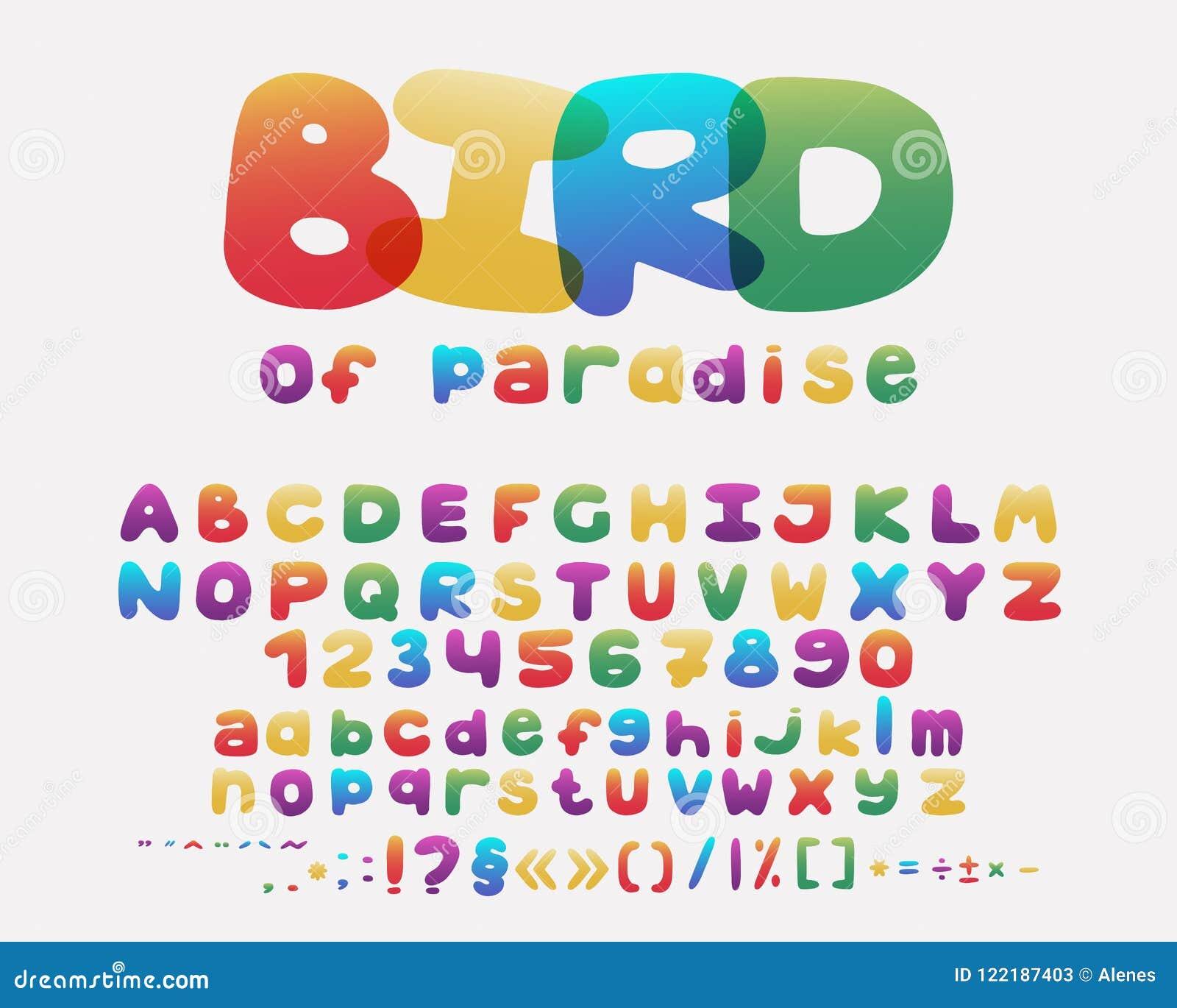 Σχέδιο κινούμενων σχεδίων αλφάβητου ύφος ουράνιων τόξων Κεφαλαίοι και πεζοί επιστολές, αριθμοί και σημεία στίξης Διάνυσμα πηγών