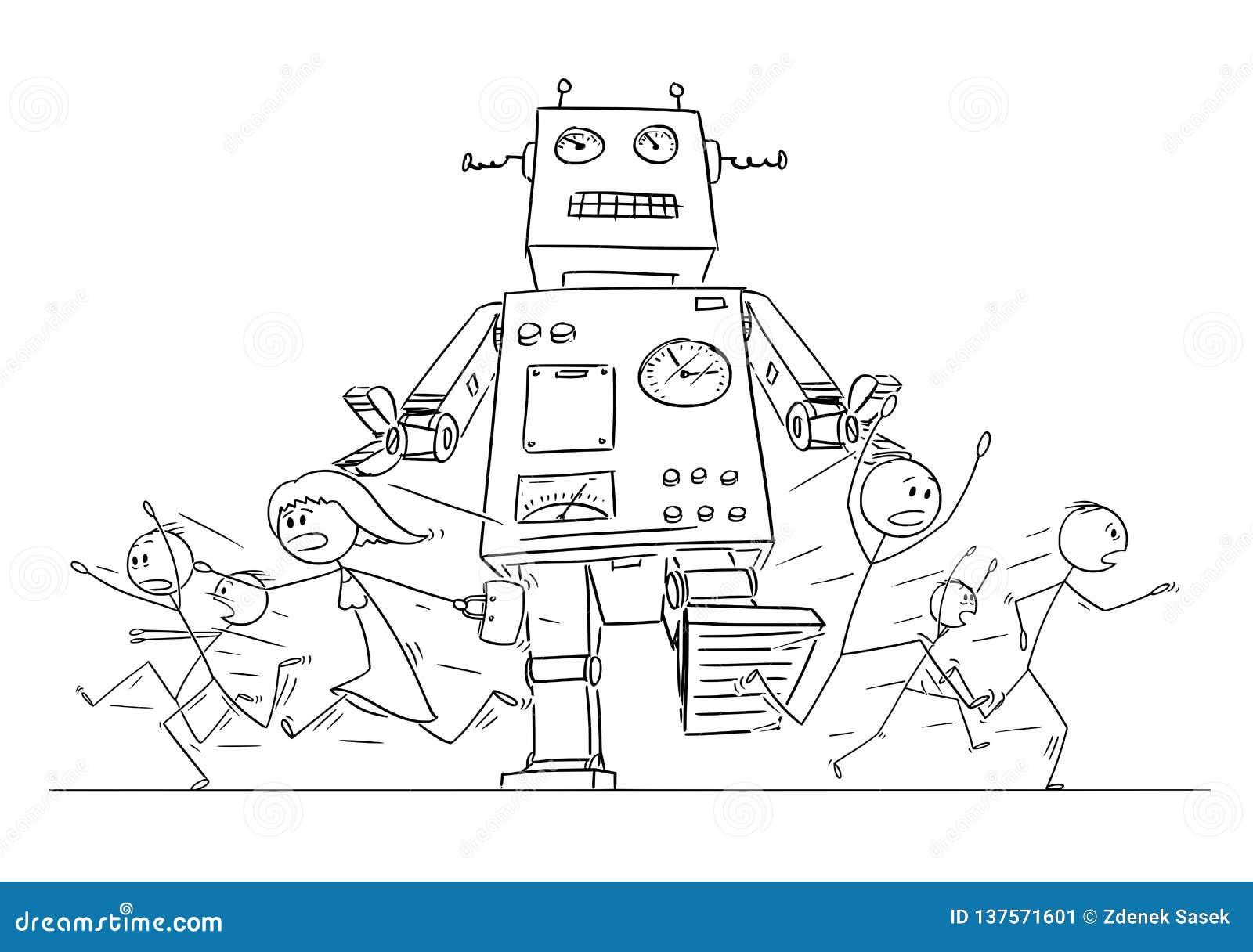 Σχέδιο κινούμενων σχεδίων του πλήθους των ανθρώπων που τρέχουν στον πανικό μακρυά από το γιγαντιαίο αναδρομικό ρομπότ