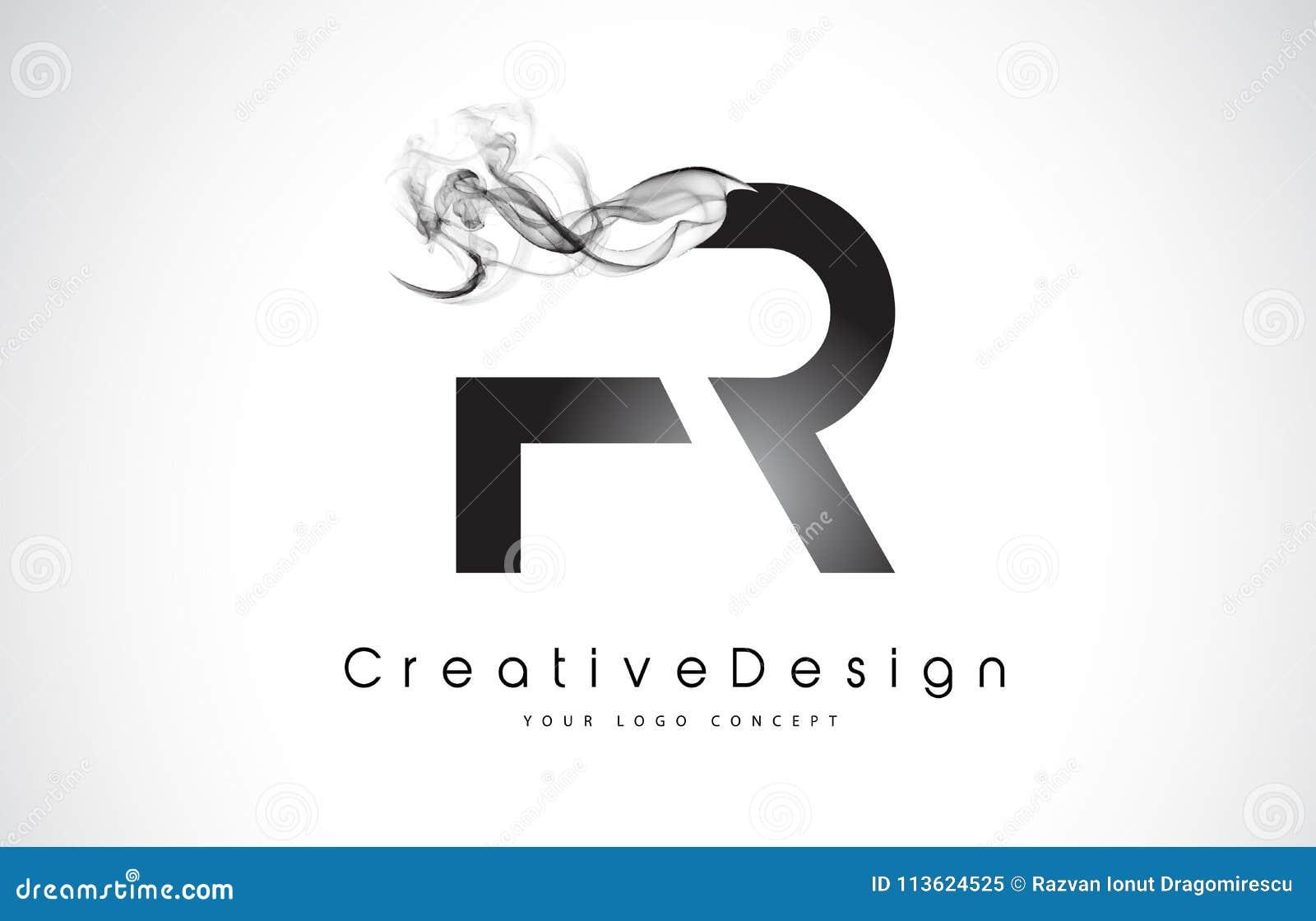 Σχέδιο λογότυπων επιστολών FR με το μαύρο καπνό