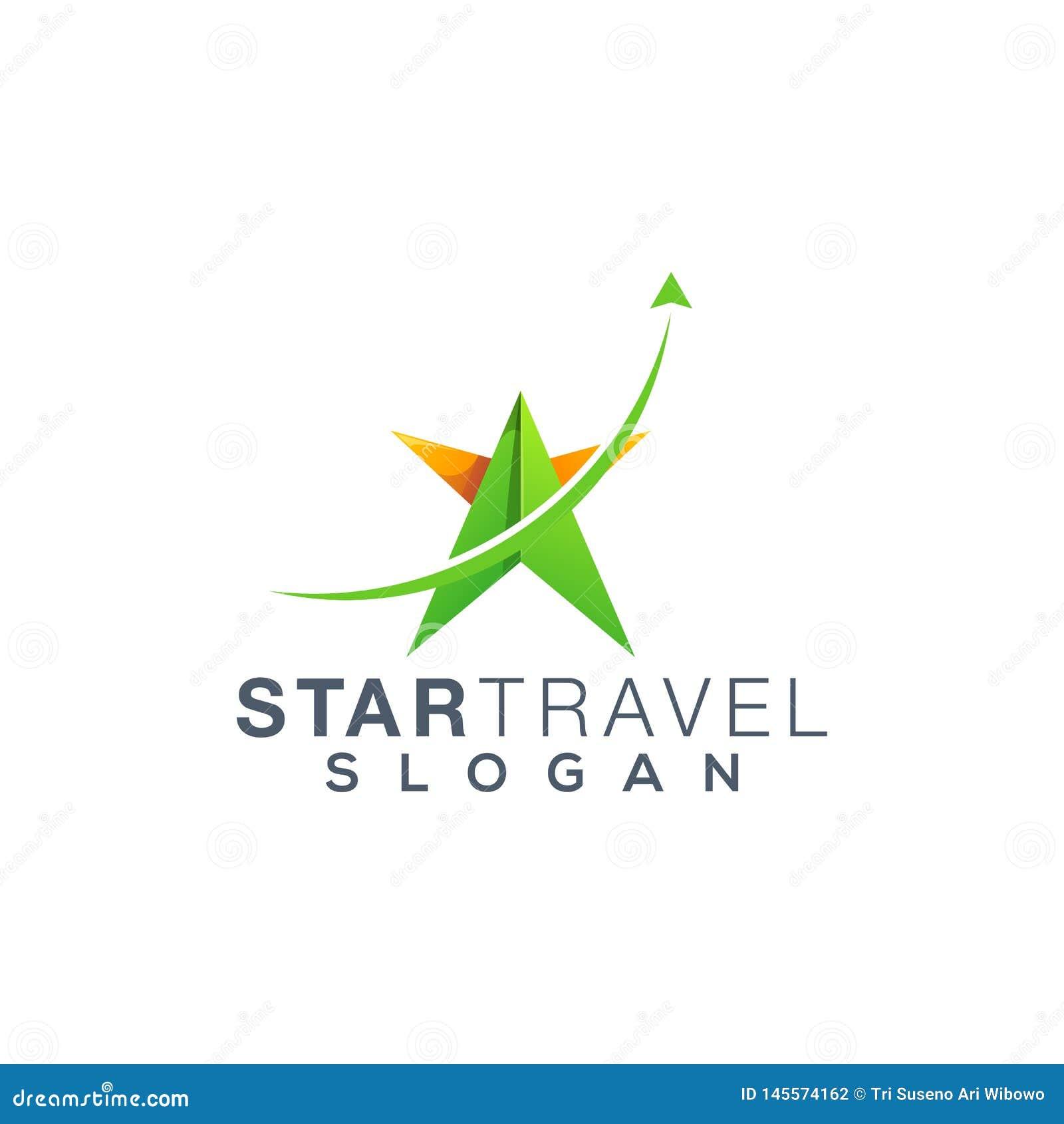 Σχέδιο λογότυπων ταξιδιού αστεριών, διάνυσμα, απεικόνιση έτοιμη να χρησιμοποιήσει
