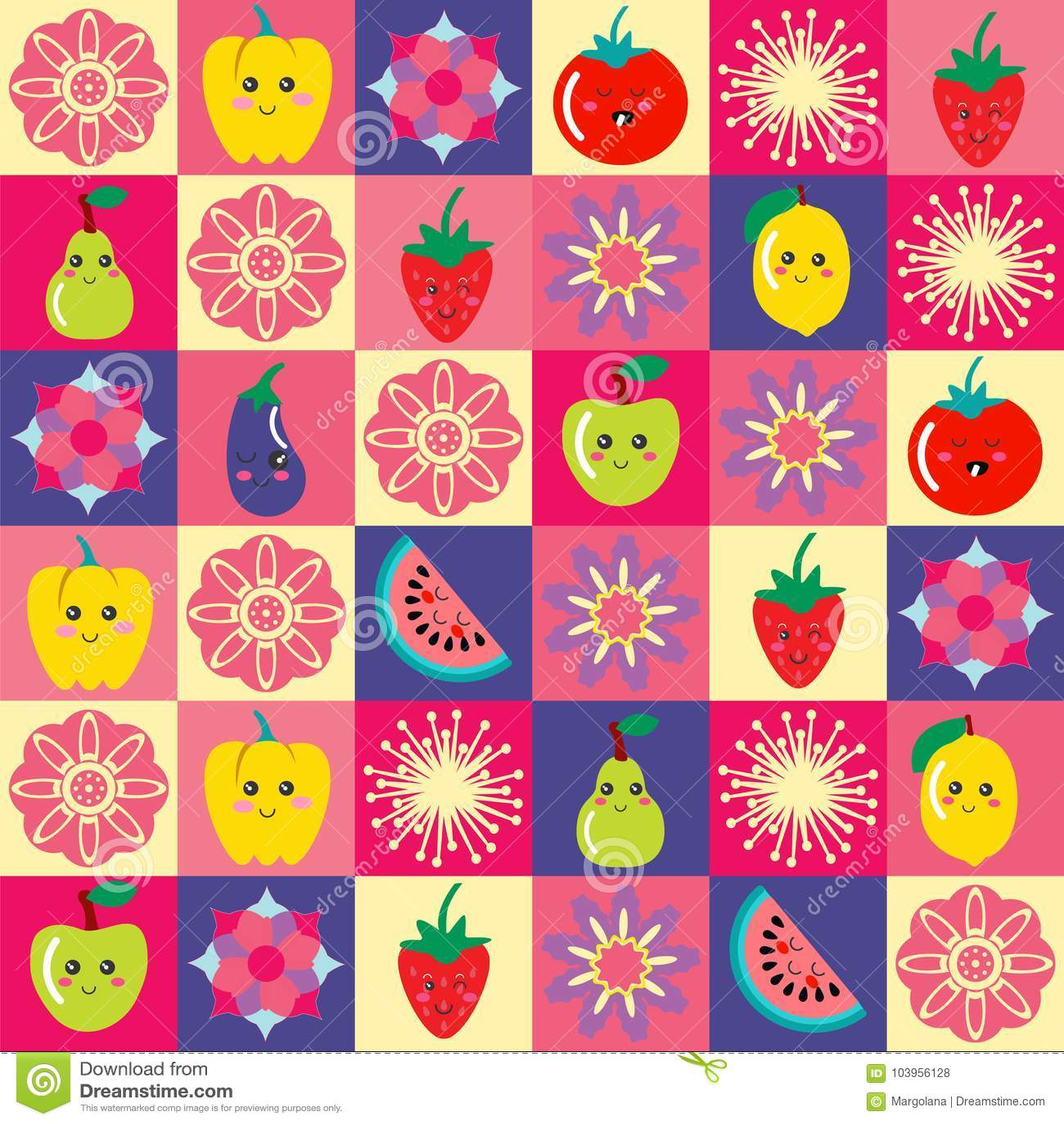 Σχέδιο με τα αστεία λουλούδια κινούμενων σχεδίων και το σύνολο χαριτωμένων φρούτων και veg