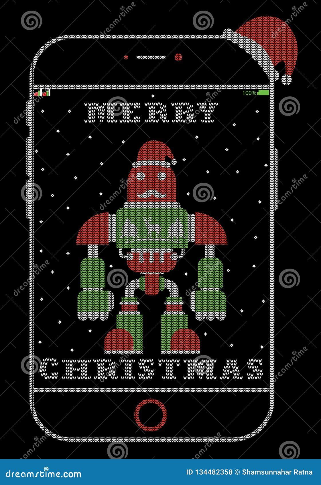Σχέδιο μπλουζών ύφους ρομπότ Santa iPhone Χριστουγέννων