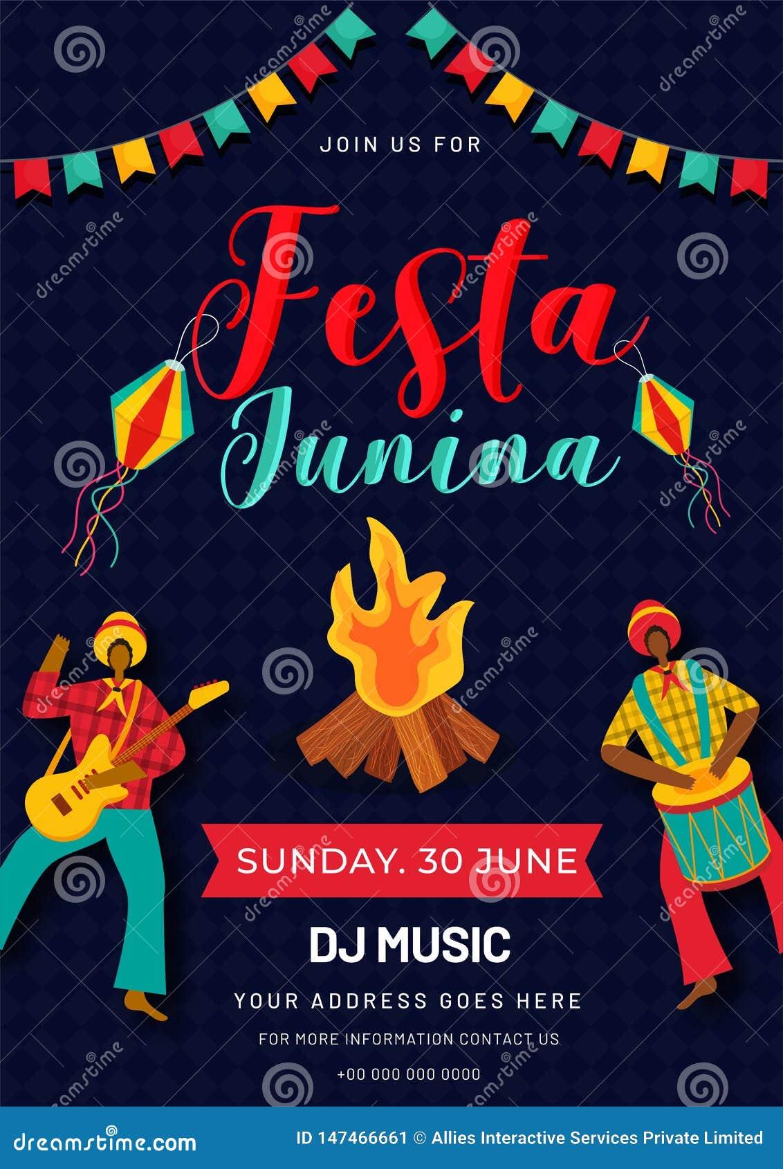 Σχέδιο προτύπων ή ιπτάμενων κόμματος Junina Festa με τα βραζιλιάνα άτομα που παίζουν το όργανο μουσικής