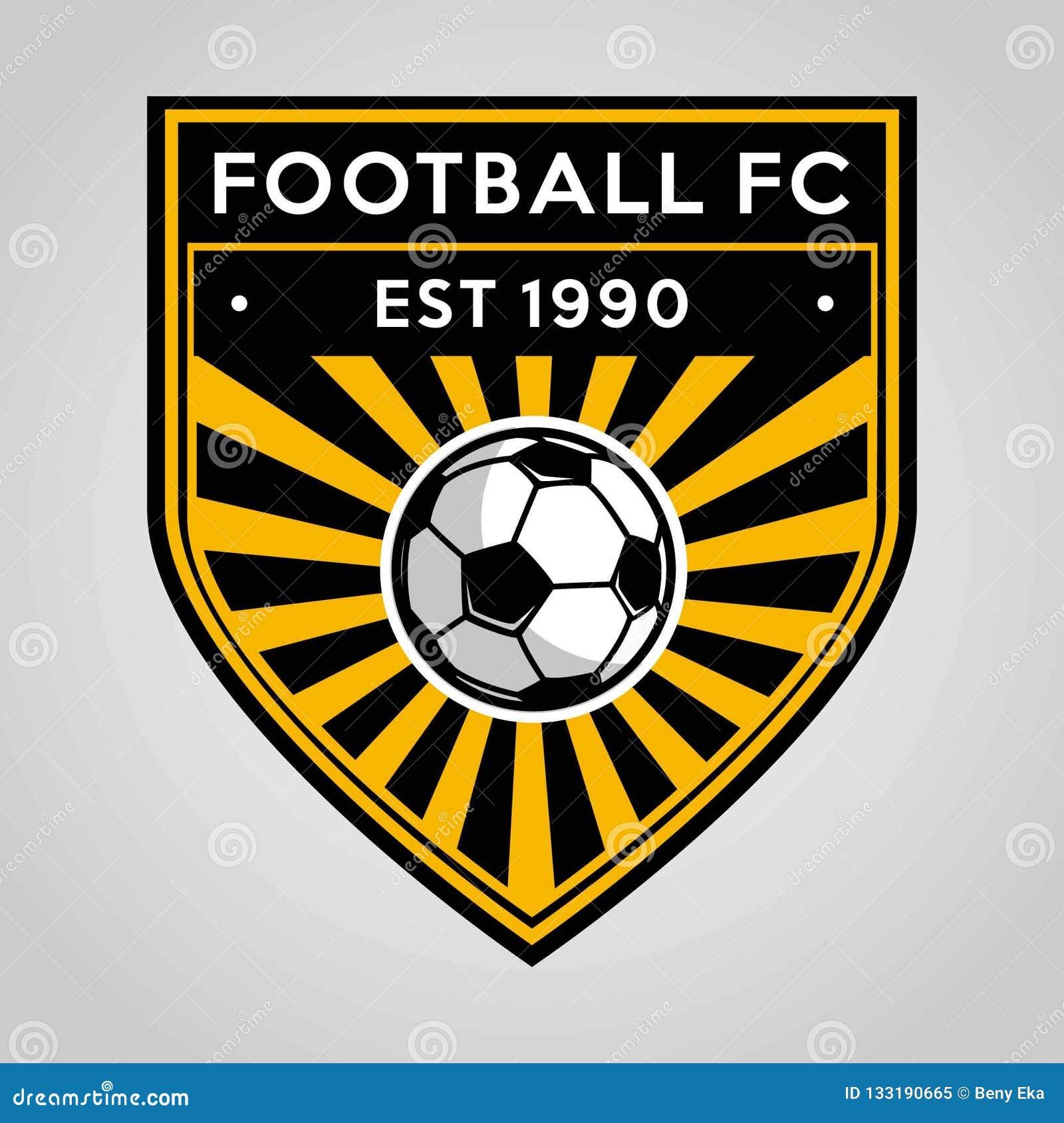 Σχέδιο προτύπων λογότυπων διακριτικών ποδοσφαίρου ποδοσφαίρου, ομάδα ποδοσφαίρου, διάνυσμα Αθλητισμός, εικονίδιο