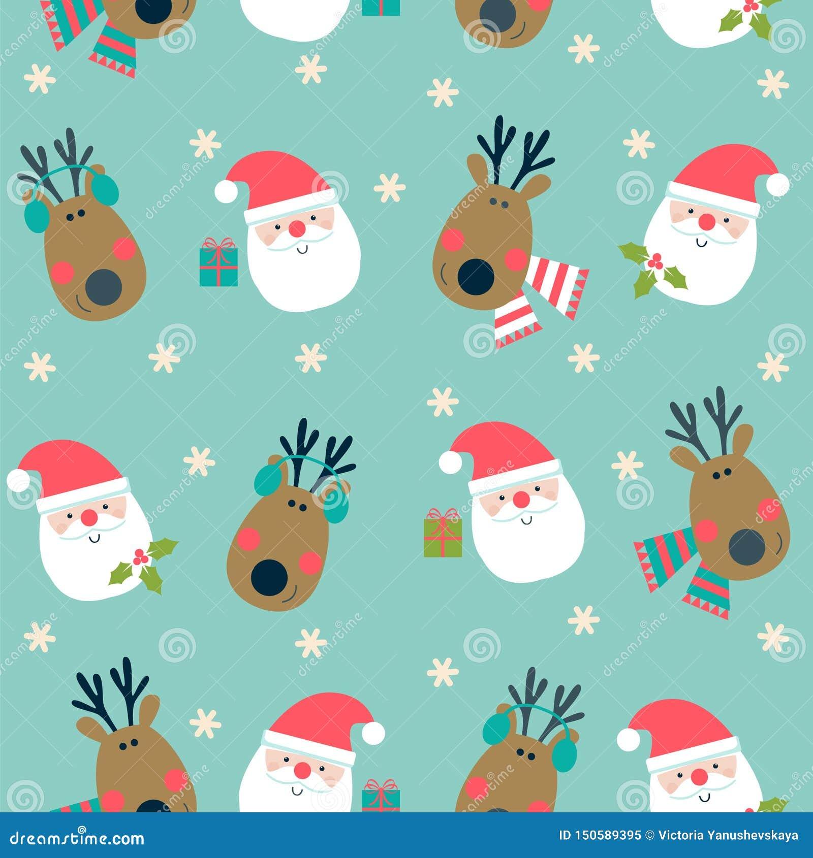 Σχέδιο Χριστουγέννων με τον τάρανδο και Santa στο μπλε υπόβαθρο