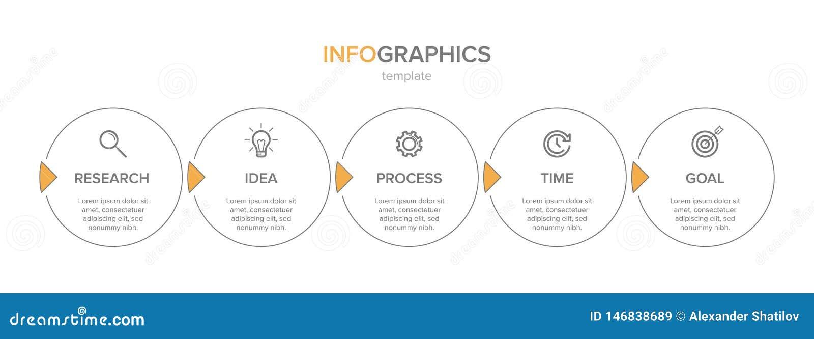 Σχέδιο Infographic με τα εικονίδια και 5 επιλογές ή βήματα Λεπτό διάνυσμα γραμμών Επιχειρησιακή έννοια Infographics o