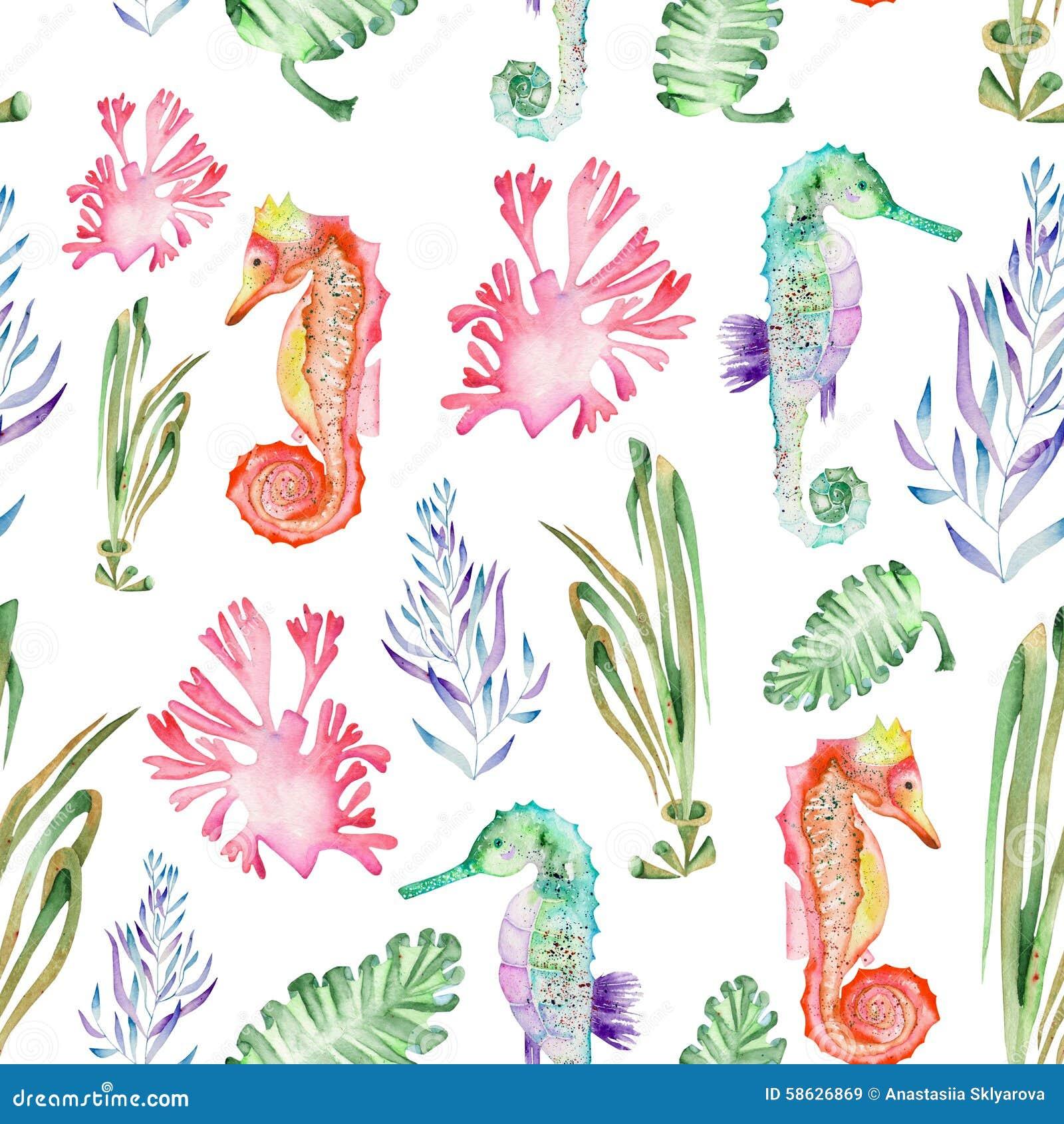 Σχέδιο με το watercolor seahorses και το φύκι (άλγη)