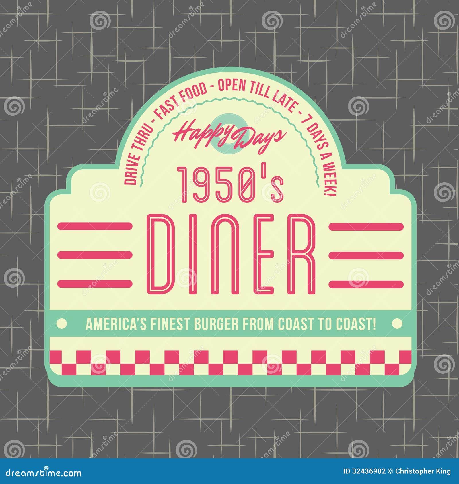 σχέδιο λογότυπων ύφους γευματιζόντων της δεκαετίας του  50
