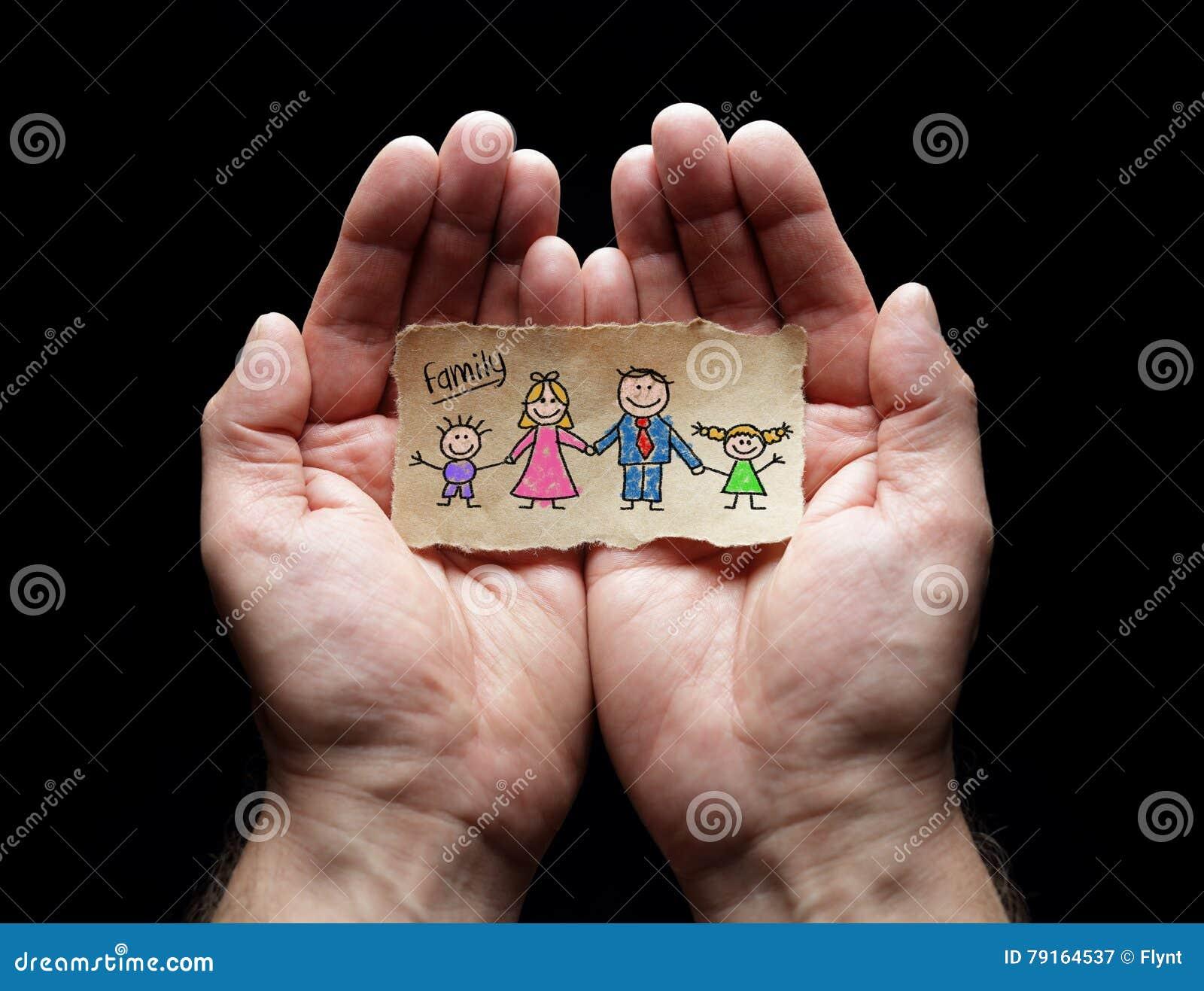 Σχέδιο παιδιών της οικογένειας με την προστασία των κοίλων χεριών