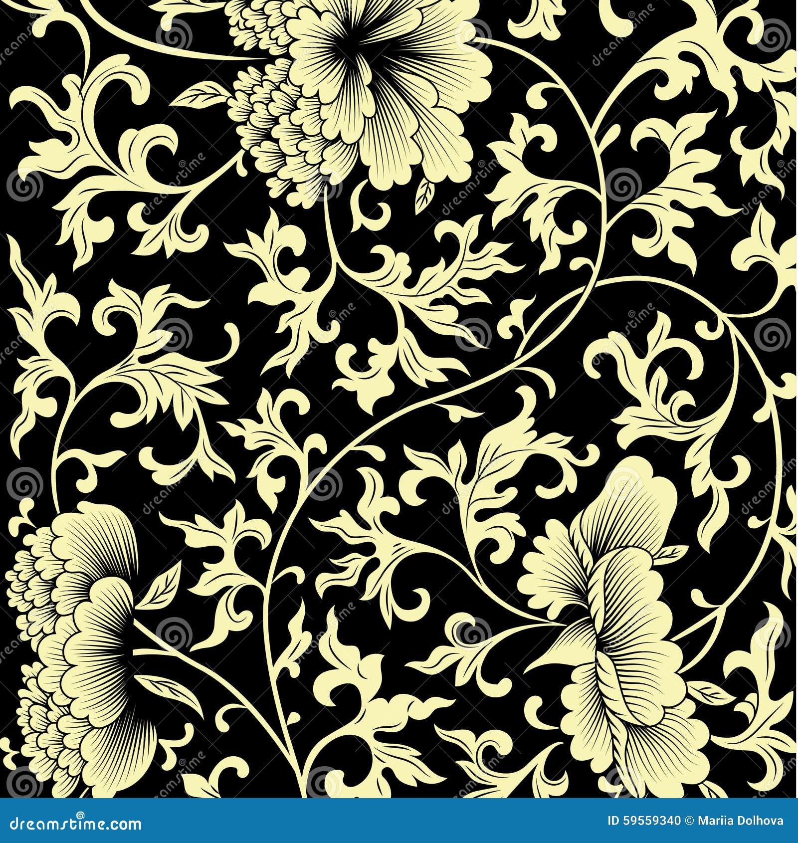 Σχέδιο στο μαύρο υπόβαθρο με τα κινεζικά λουλούδια