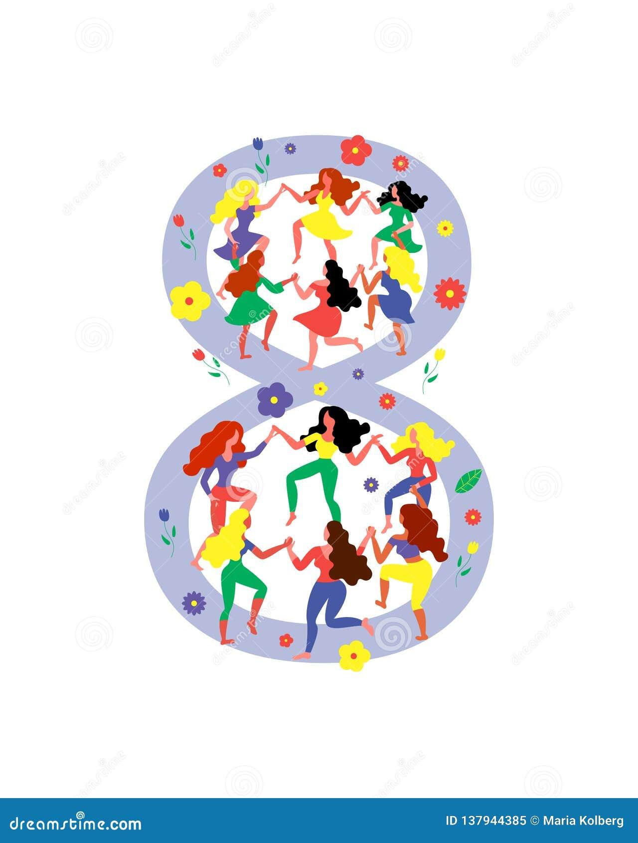 Σχήμα 8 που περιβάλλεται από τις χορεύοντας γυναίκες Οι γυναίκες χορεύουν στο σχήμα 8 Διανυσματική απεικόνιση για την ημέρα των γ
