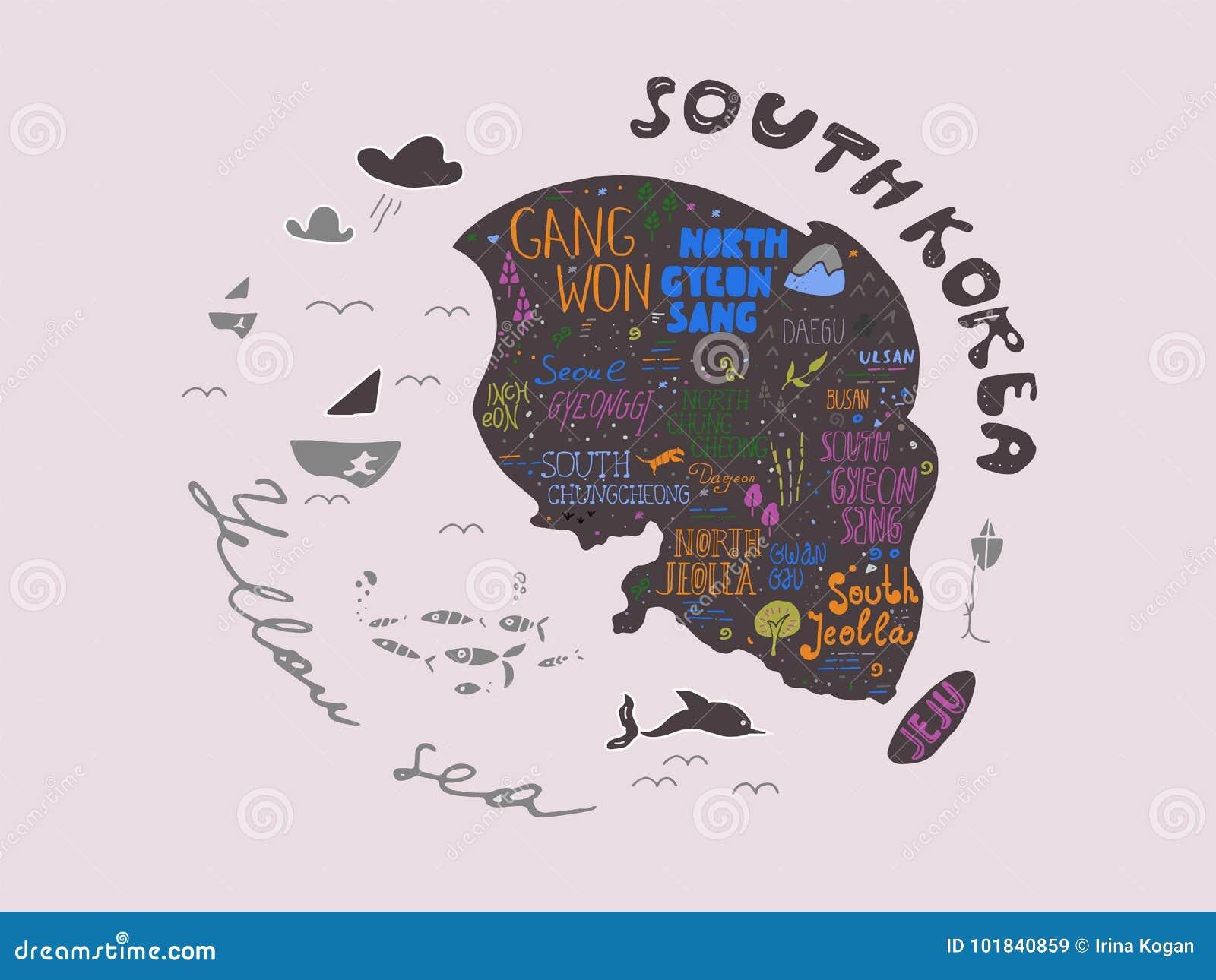 Σχεδιαζόμενος χέρι χάρτης της διανυσματικής απεικόνισης της Νότιας Κορέας, σχέδιο