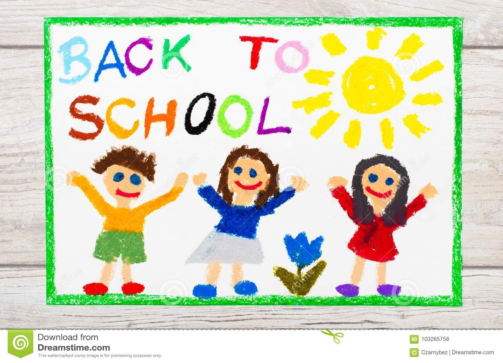 Σχεδιασμός: Λέξη ΠΙΣΩ στο ΣΧΟΛΕΙΟ και τα ευτυχή παιδιά ημερήσιο πρώτο σχολείο
