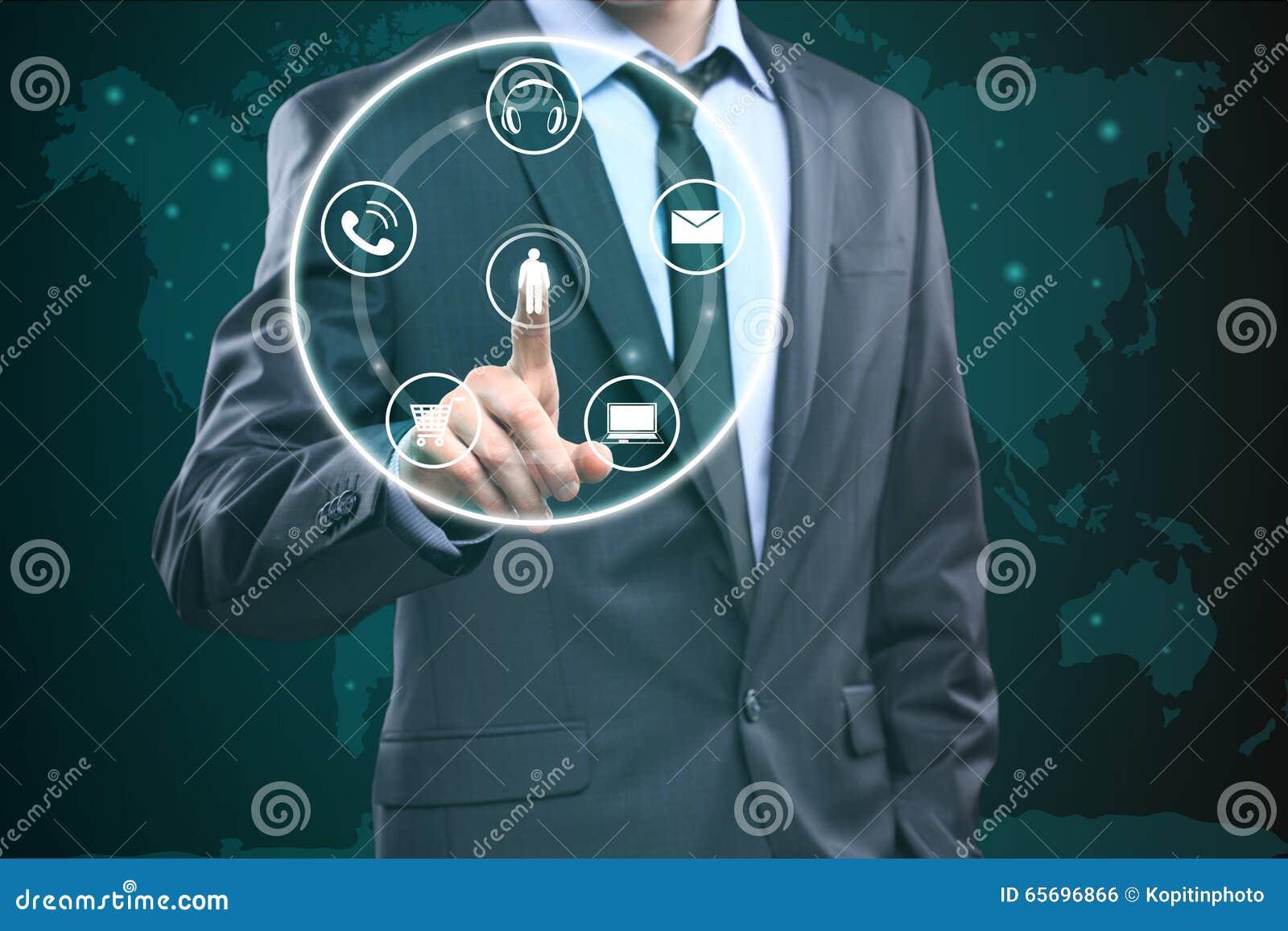 Σχετικά με την επαφή εμείς έννοια στην οπτική οθόνη πίεση κουμπιών επιχειρηματιών