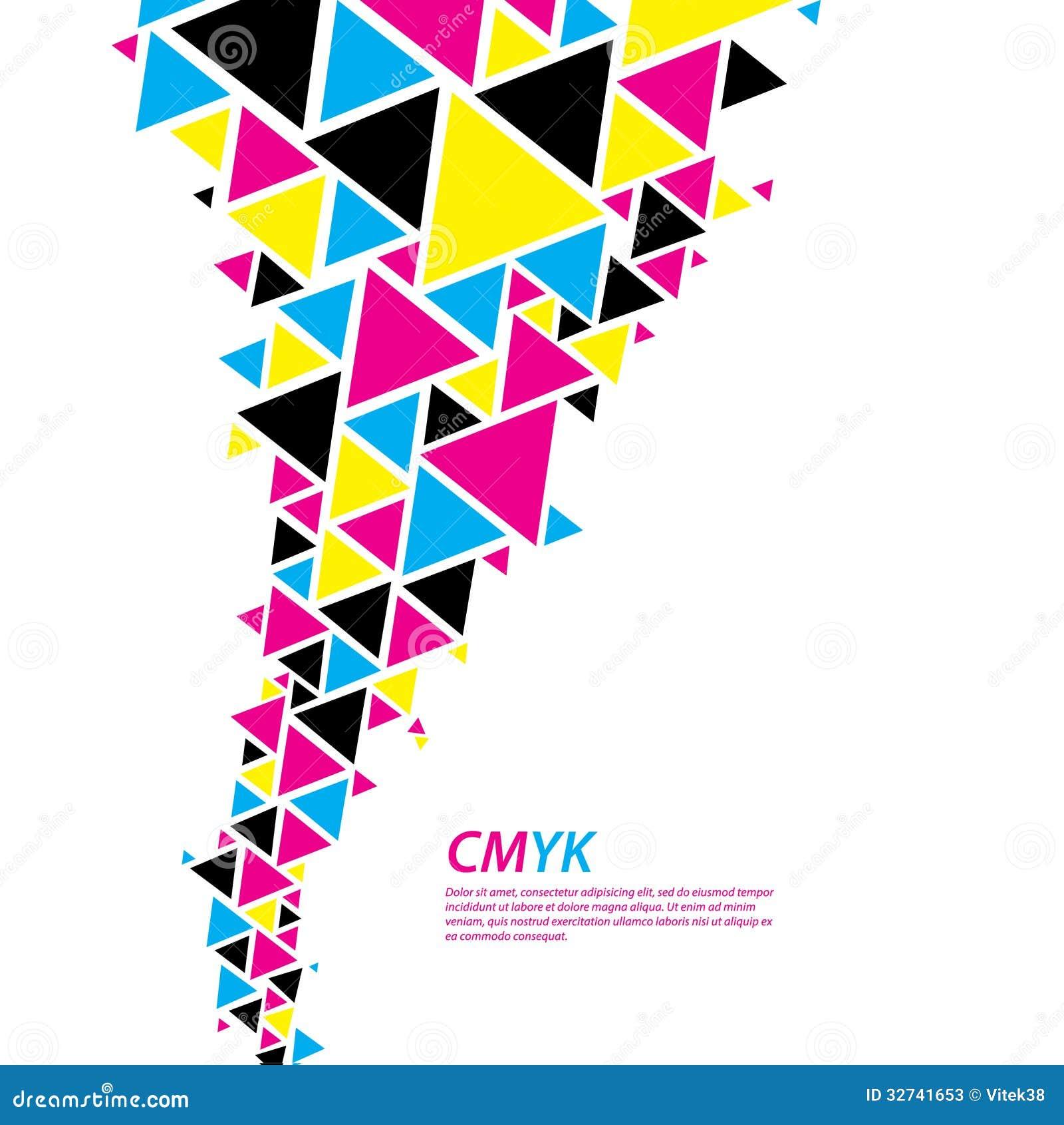 Σχεδιάγραμμα χρώματος CMYK. Αφηρημένη ροή τριγώνων - δυσκολοπρόφερτη λέξη στο συνταγματάρχη cmyk