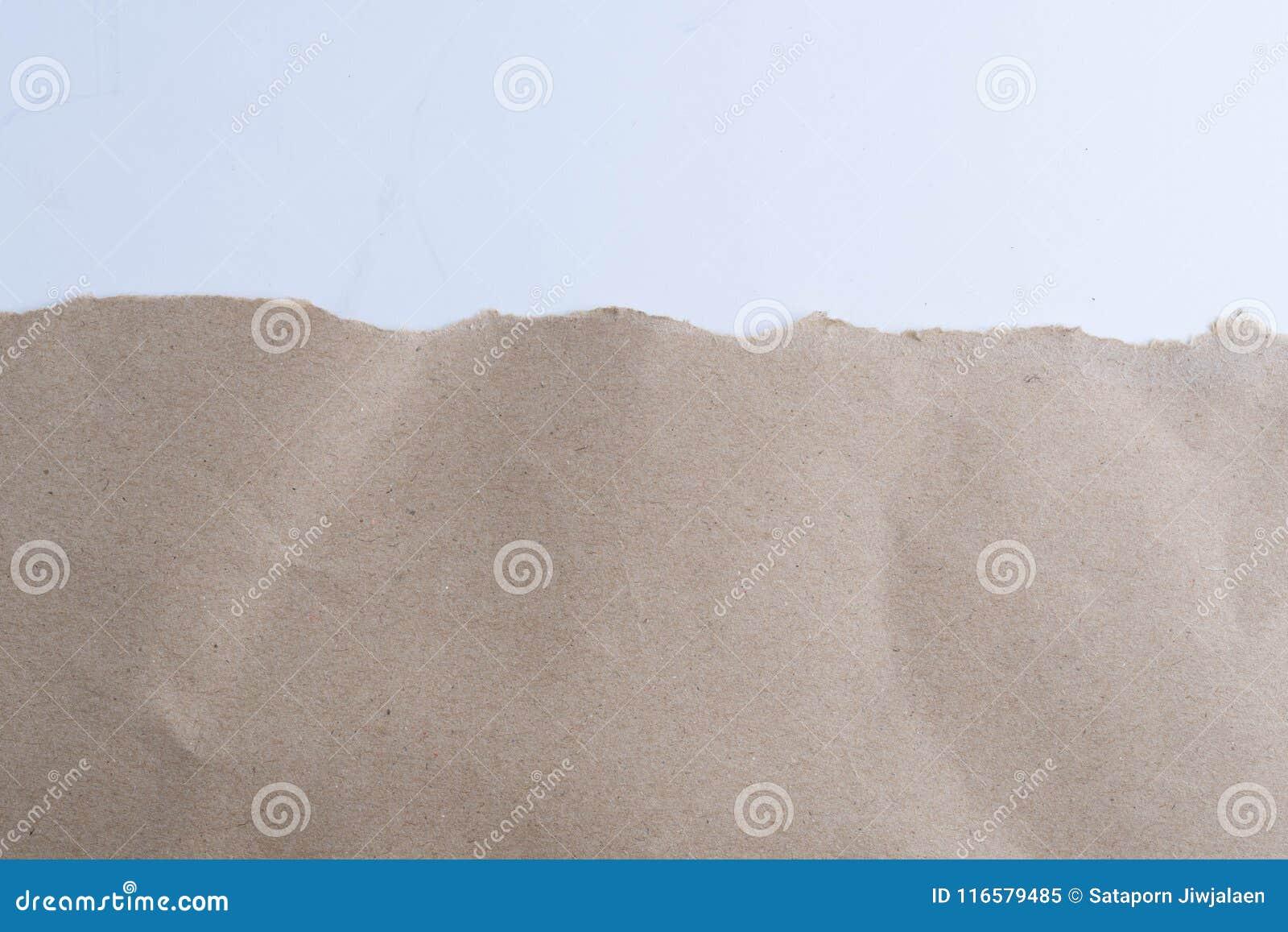 Σχισμένος στο καφετί έγγραφο για το λευκό