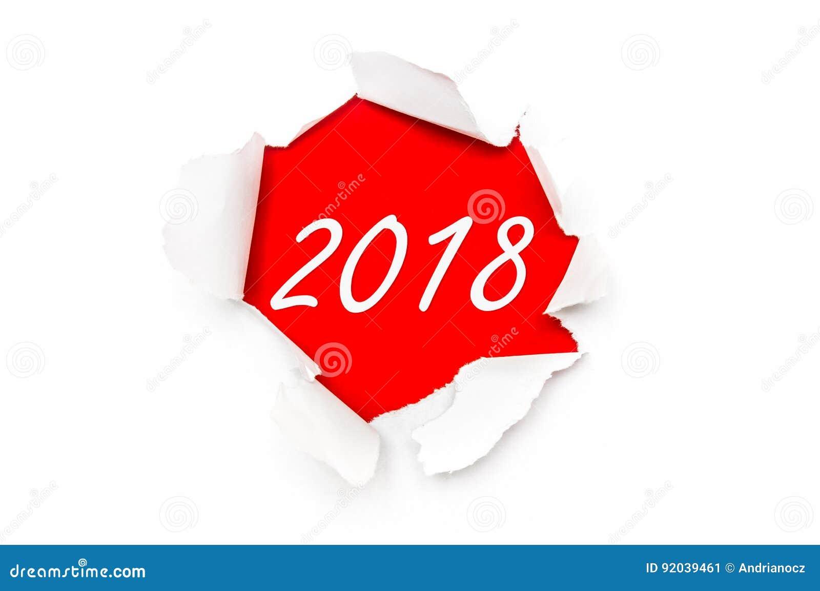 Σχισμένο έγγραφο με τις γραπτές λέξεις νέο έτος 2018