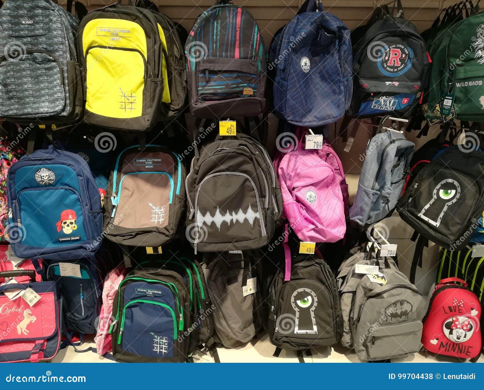 73acdbf7cd9 Σχολικά σακίδια πλάτης για τα παιδιά Εκδοτική Στοκ Εικόνες - εικόνα ...