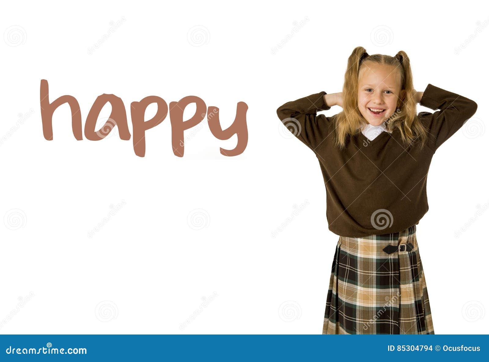 Σχολική κάρτα λεξιλογίου εκμάθησης αγγλικής γλώσσας του νέου όμορφου ευτυχούς κοριτσιού