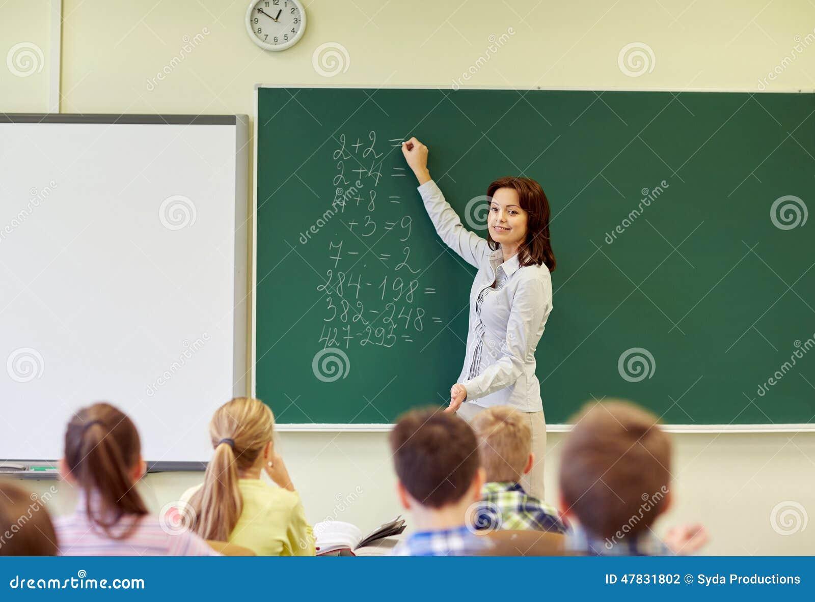 Σχολικοί παιδιά και δάσκαλος που γράφουν στον πίνακα κιμωλίας