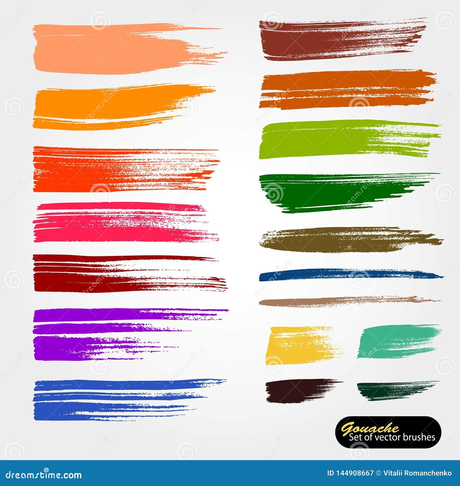 Διανυσματικό καλλιτεχνικό σκηνικό Σωζόμενες βούρτσες αρχείων παλετών Το χρωματισμένο χρώμα, ακρυλική βούρτσα, gouashe βουρτσίζει