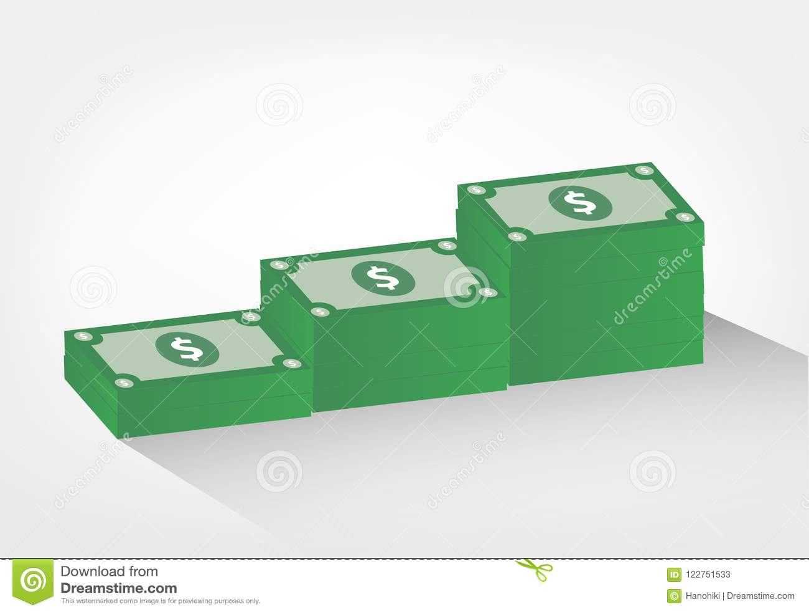 Σωροί της απεικόνισης χρημάτων - διανυσματικός γραφικός λογαριασμών δολαρίων,