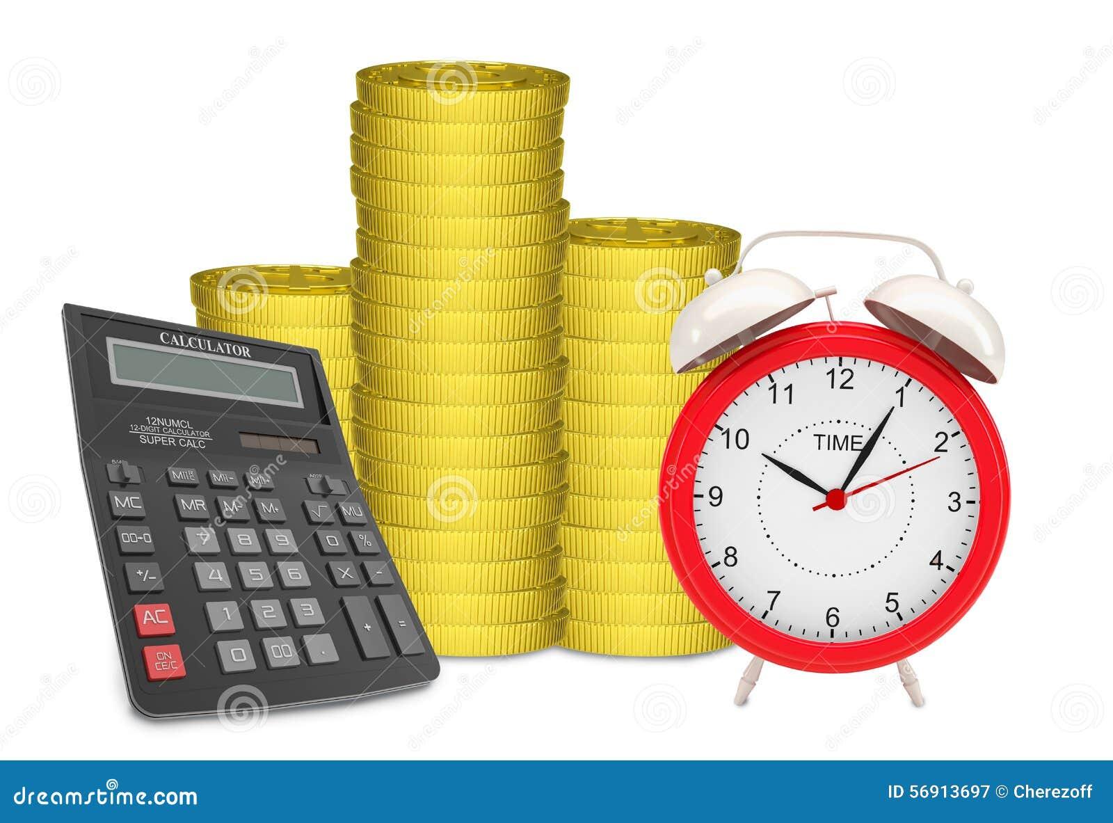 Σωροί των χρυσών νομισμάτων με το ξυπνητήρι