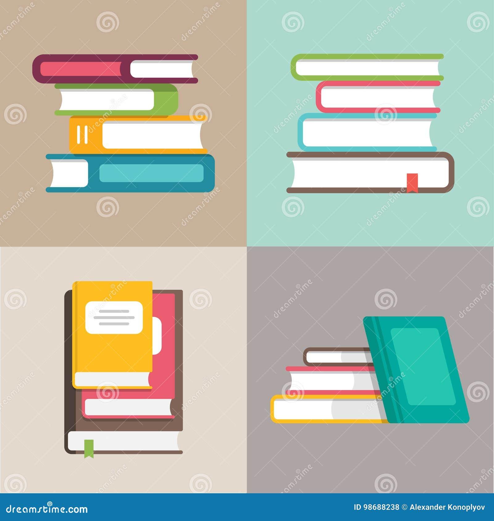 Σωρός ή σωρός των διανυσματικών εικονιδίων βιβλίων σε ένα επίπεδο ύφος