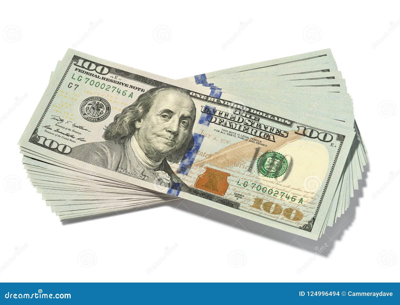 Σωρός εκατό δολάριο Bill που απομονώνονται