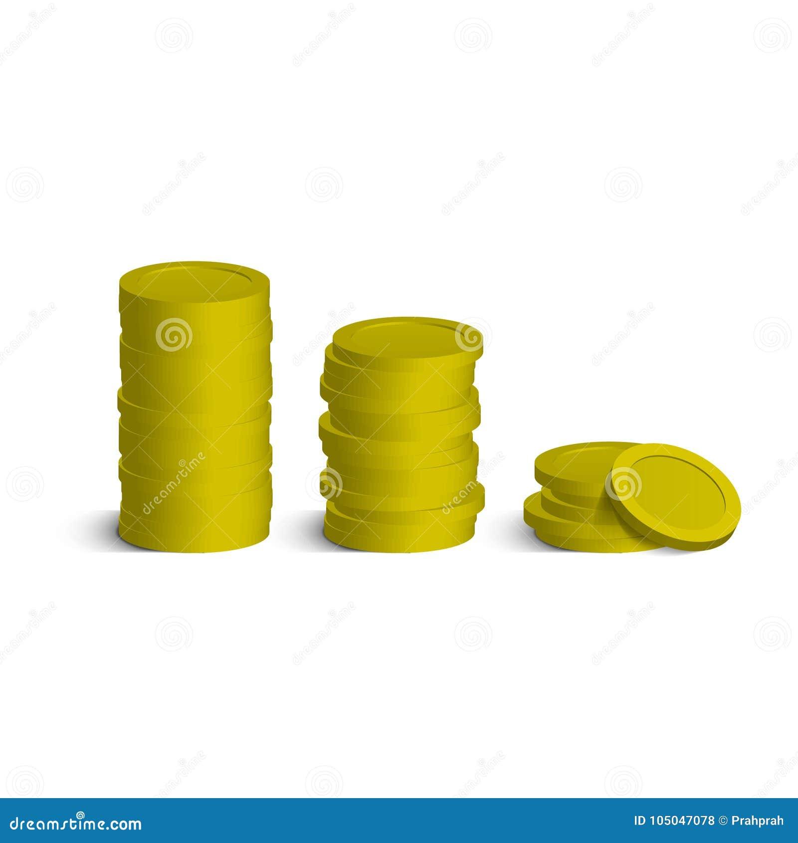 Σωρός νομισμάτων με τις σκιές που απομονώνονται στο λευκό