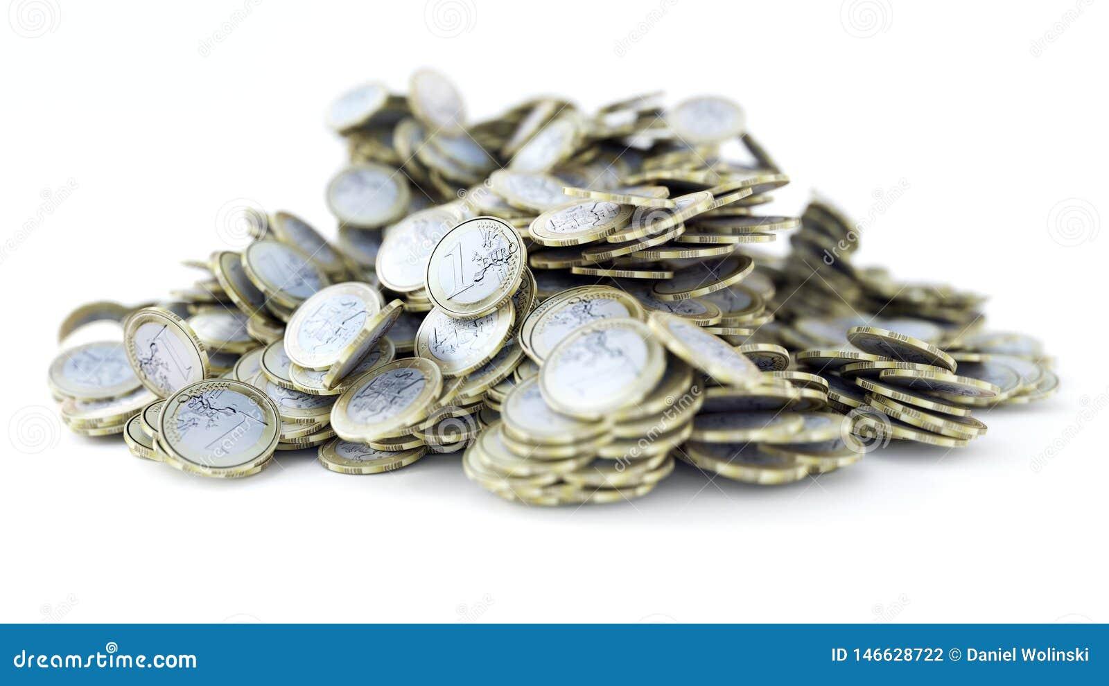 Σωρός 1 των ευρο- νομισμάτων, λαμπρή, μεταλλική, τρισδιάστατη απόδοση