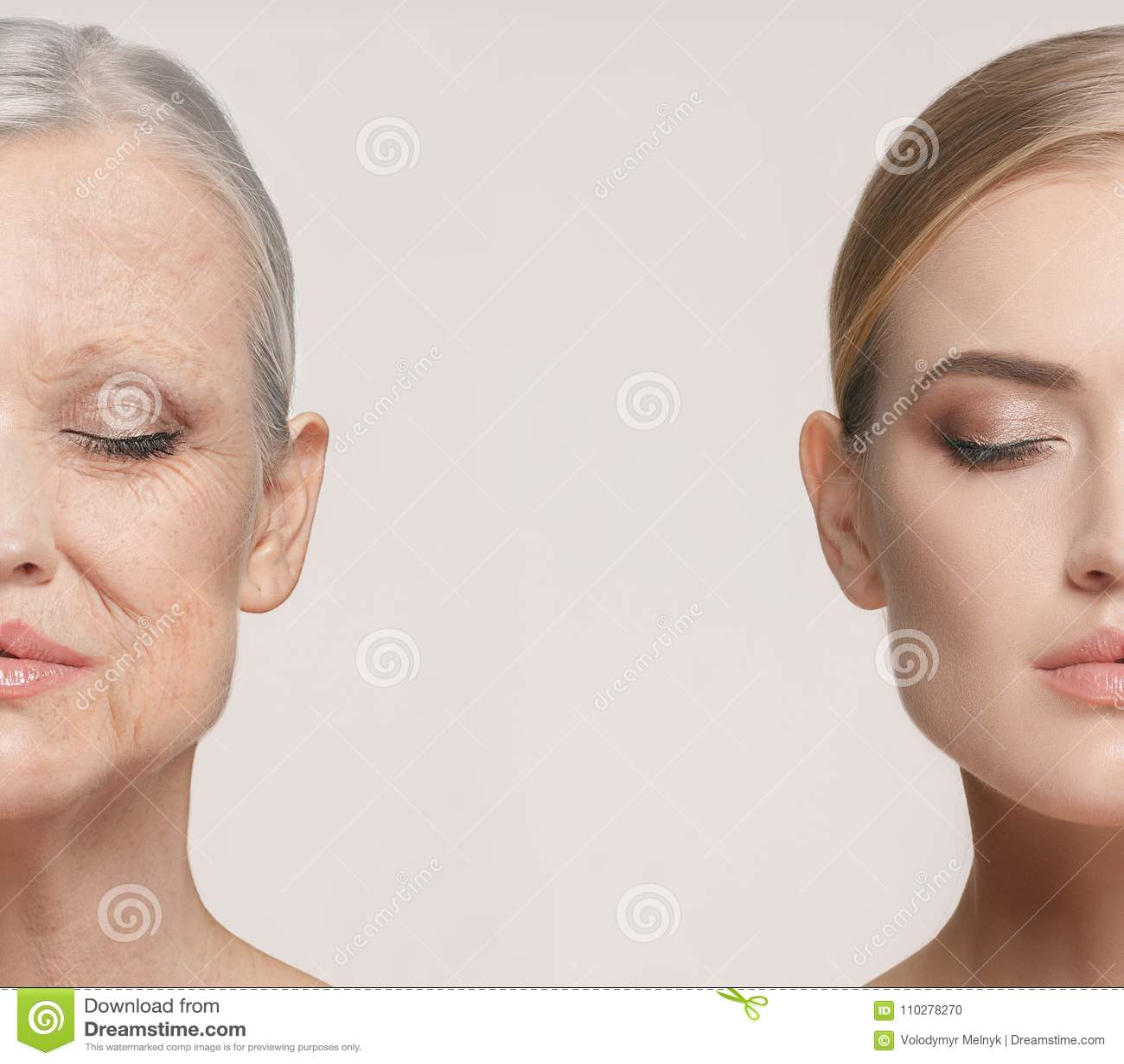 σύγκριση Πορτρέτο της όμορφης γυναίκας με το πρόβλημα και την καθαρή έννοια δερμάτων, γήρανσης και νεολαίας, επεξεργασία ομορφιάς