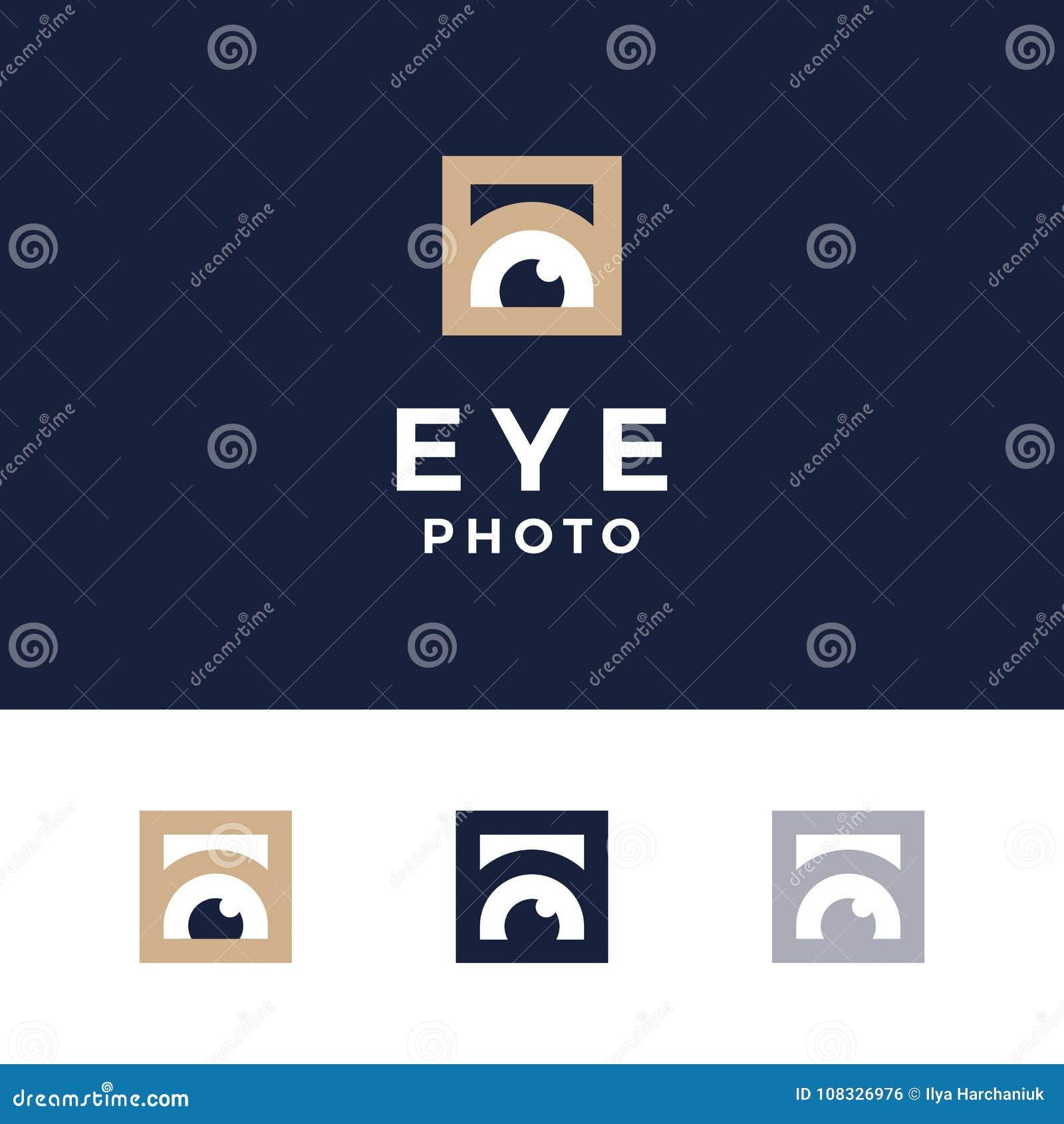 Σύγχρονα επαγγελματικά μάτια φωτογραφιών λογότυπων στο μπλε υπόβαθρο