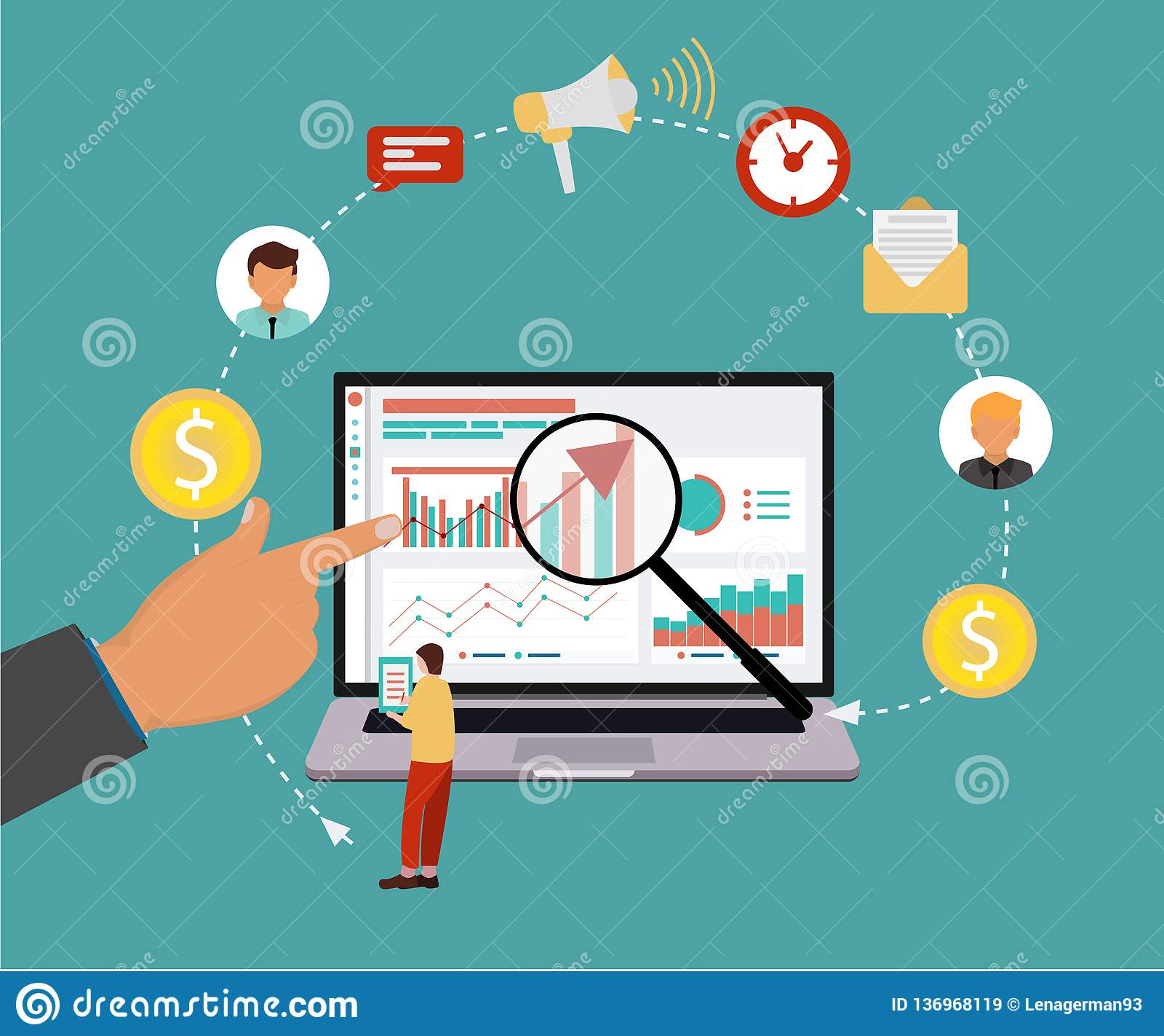 Σύγχρονη επίπεδη έννοια σχεδίου της βελτιστοποίησης μηχανών αναζήτησης SEO για τον ιστοχώρο και κινητός επίσης corel σύρετε το δι
