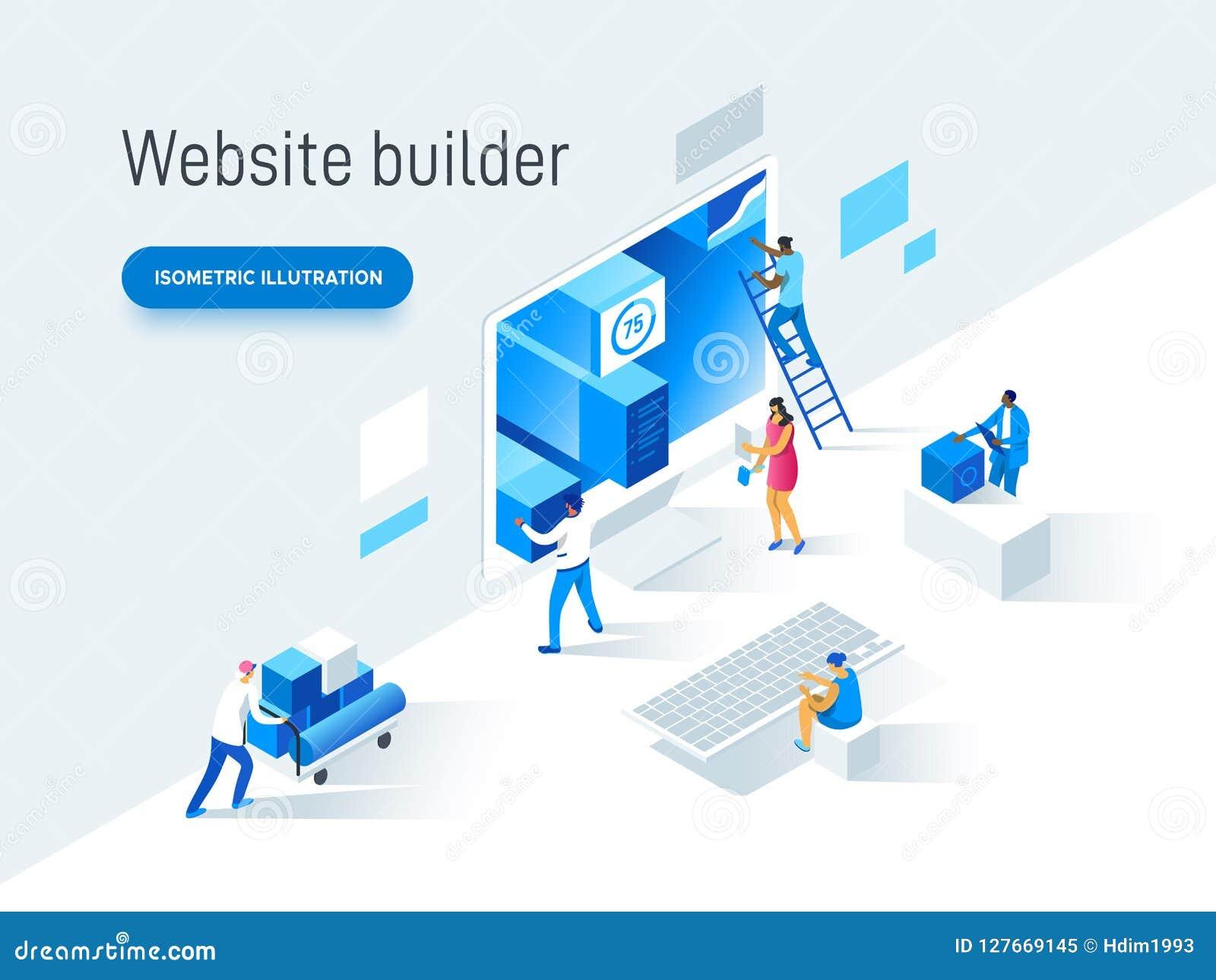 Σύγχρονη επίπεδη διανυσματική έννοια απεικόνισης των ανθρώπων που κάνουν το σχέδιο ιστοσελίδας για τον ιστοχώρο Δημιουργικό σχέδι