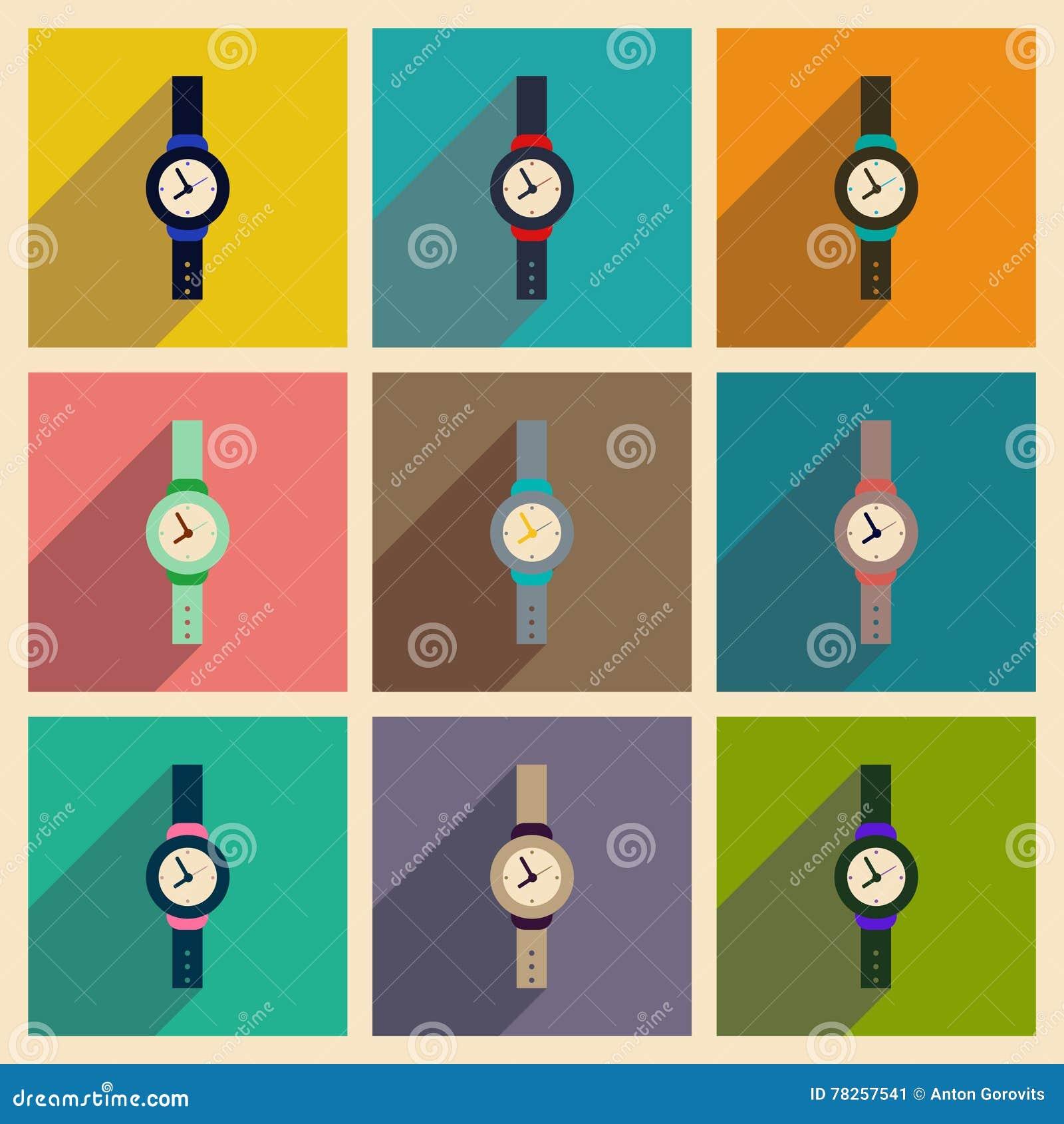 Σύγχρονη επίπεδη διανυσματική συλλογή εικονιδίων με το ρολόι ατόμων σκιών