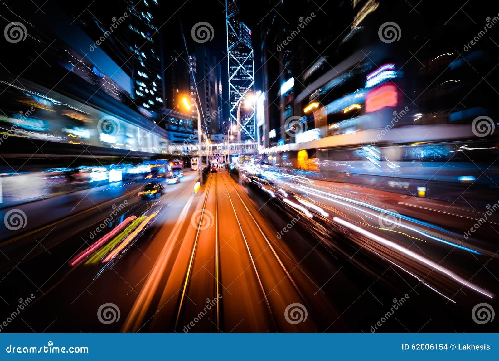 Σύγχρονη θαμπάδα κινήσεων πόλεων Χογκ Κογκ Αφηρημένη κυκλοφορία εικονικής παράστασης πόλης