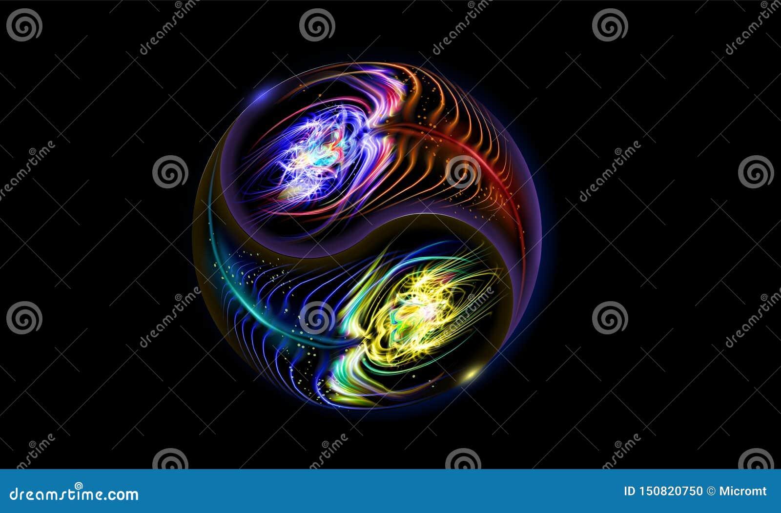 Σύγχρονη πυράκτωση μπλε, κόκκινα κοσμικά Yin και mandala Yang Διακοσμητική πνευματική χαλάρωση Σχέδιο διακοσμήσεων φωτισμού r