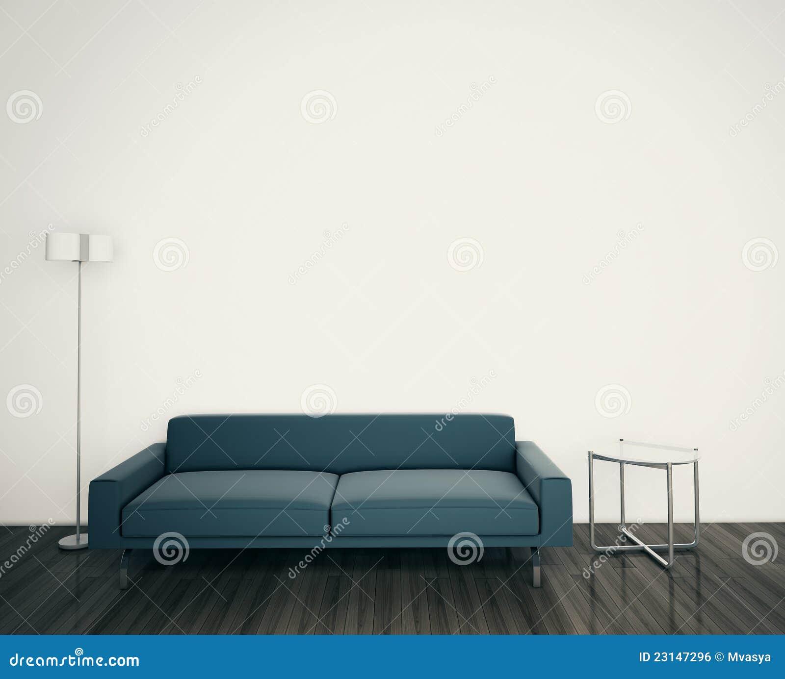 Σύγχρονοι καναπές και λαμπτήρας στο δωμάτιο
