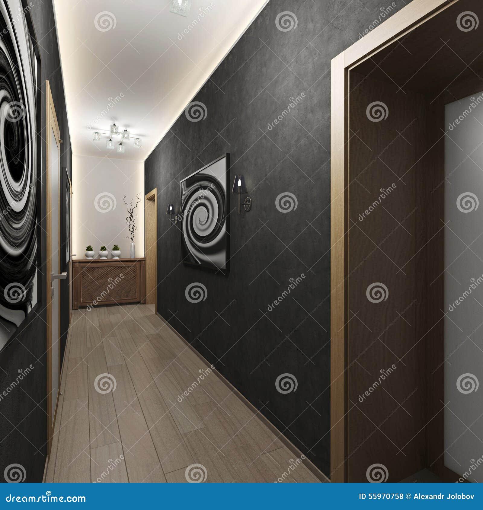 Σύγχρονος εσωτερικός διάδρομος με τις πόρτες