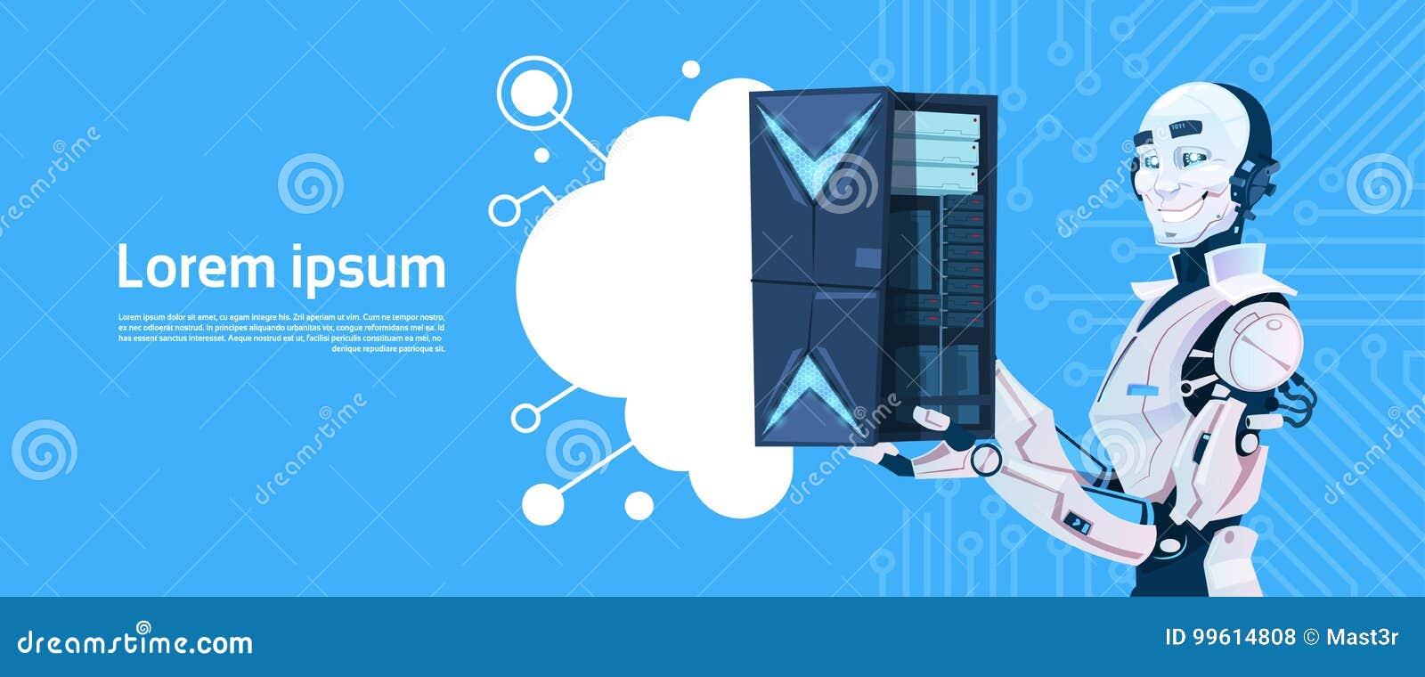 Σύγχρονος κεντρικός υπολογιστής βάσεων δεδομένων σύννεφων λαβής ρομπότ, τεχνολογία μηχανισμών φουτουριστική τεχνητής νοημοσύνης