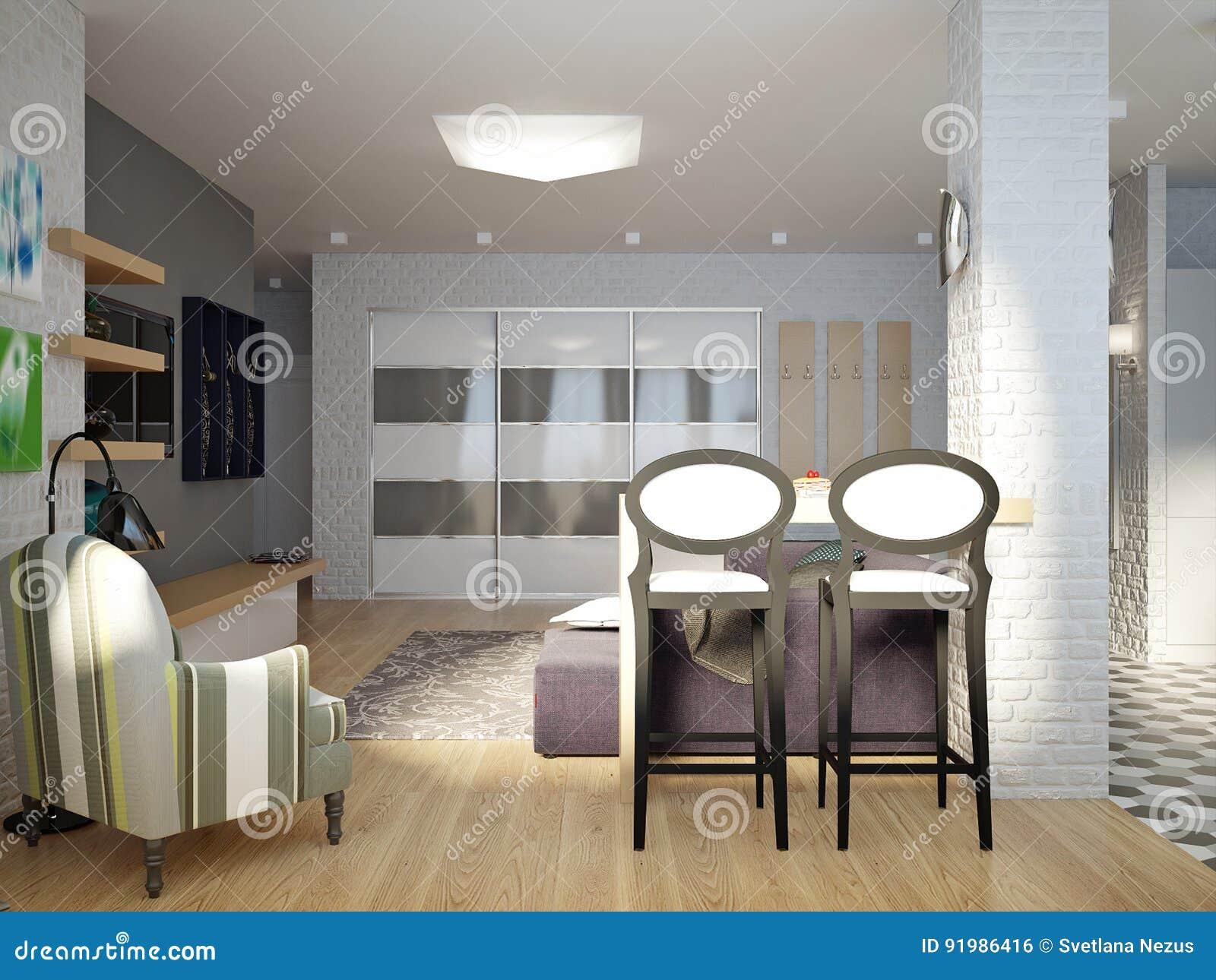 Σύγχρονο αστικό σύγχρονο ανοικτό καθιστικό στούντιο, τραπεζαρία