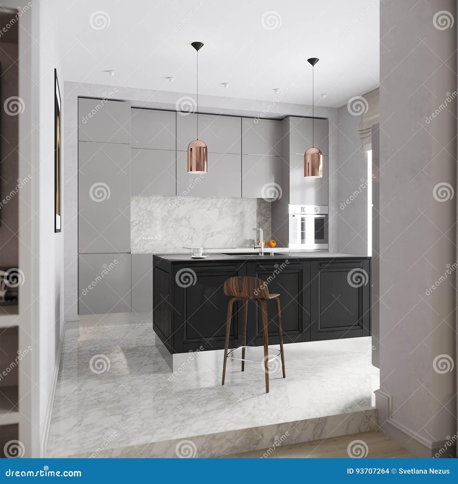 Σύγχρονο αστικό σύγχρονο γκρίζο εσωτερικό κουζινών