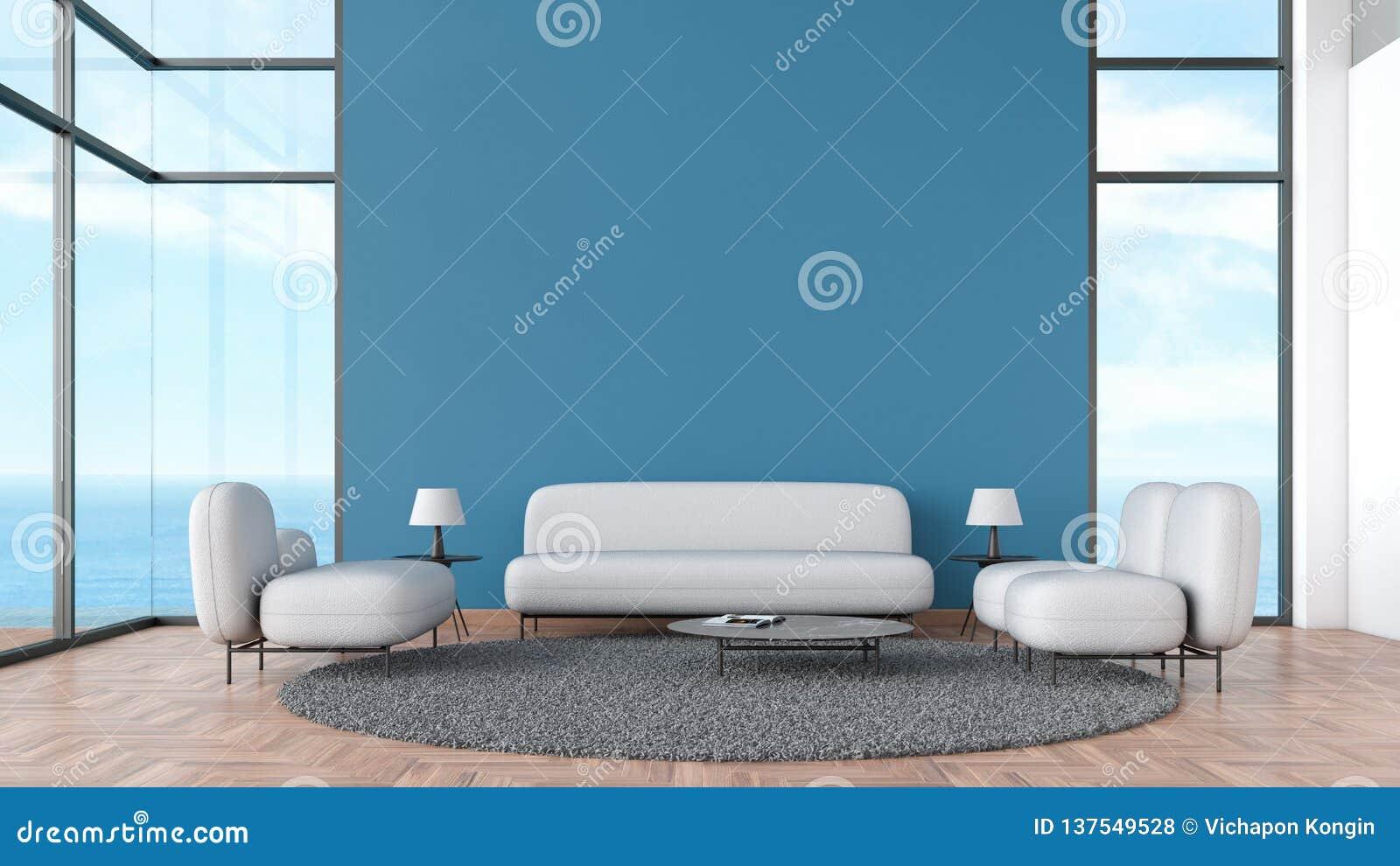 Σύγχρονο εσωτερικό ξύλινο πάτωμα καθιστικών με το γκρίζο θερινό πρότυπο άποψης θάλασσας παραθύρων καναπέδων και καρεκλών για την