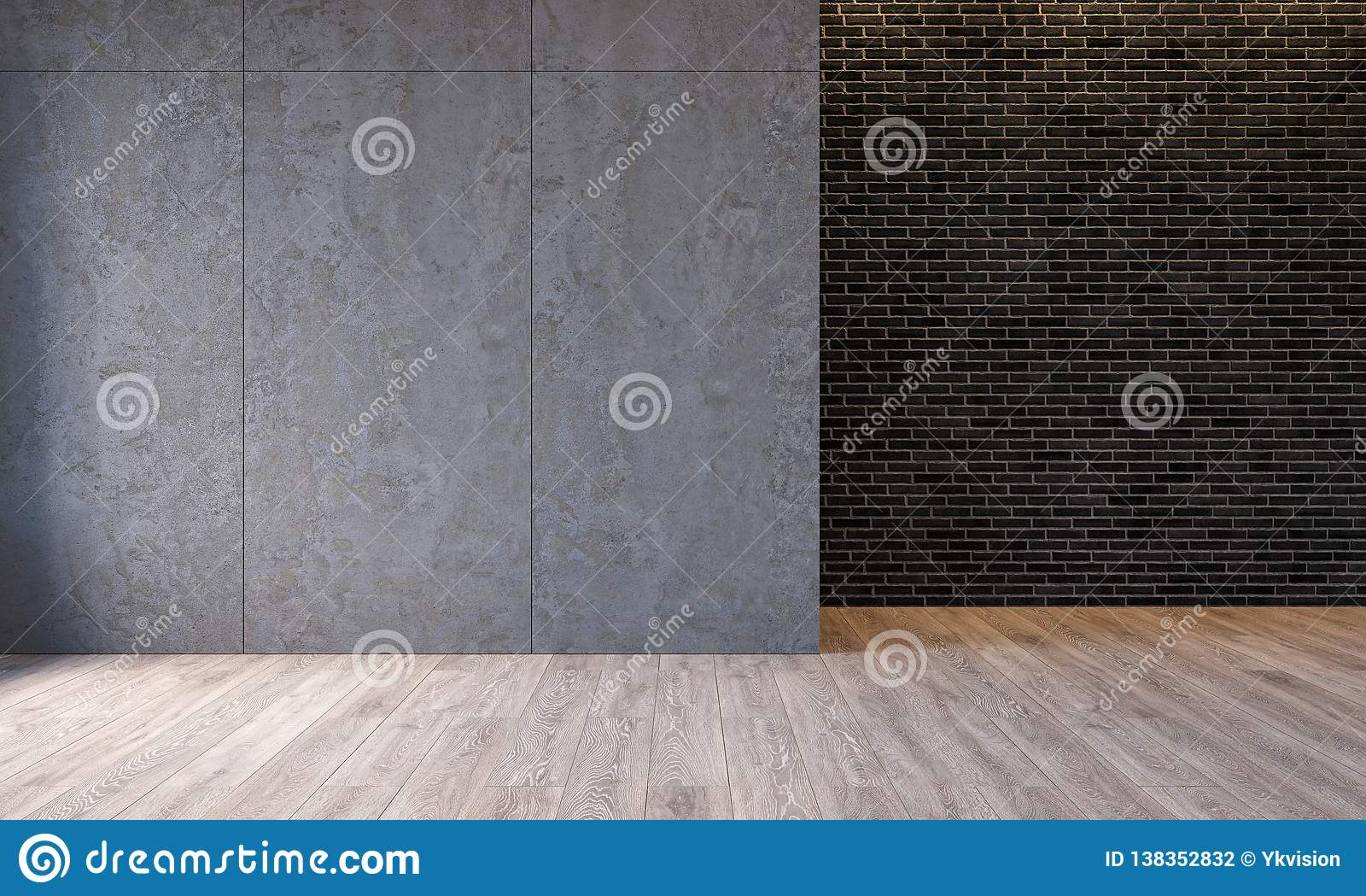 Σύγχρονο εσωτερικό σοφιτών με τις συγκεκριμένες επιτροπές τοίχων τσιμέντου αρχιτεκτονικής, τουβλότοιχος, τσιμεντένιο πάτωμα Κενό