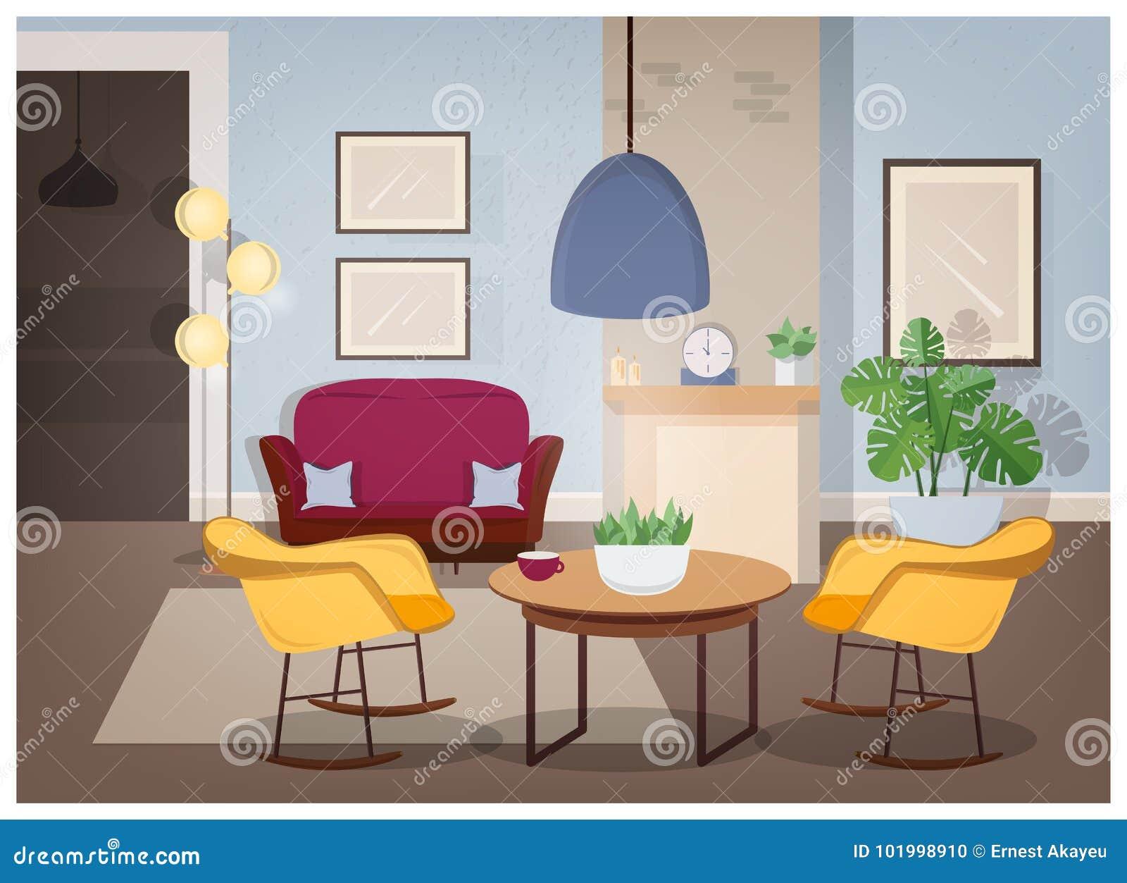 Σύγχρονο εσωτερικό του καθιστικού με τα άνετα έπιπλα και τις καθιερώνουσες  τη μόδα εγχώριες διακοσμήσεις - 39ebd63bf41